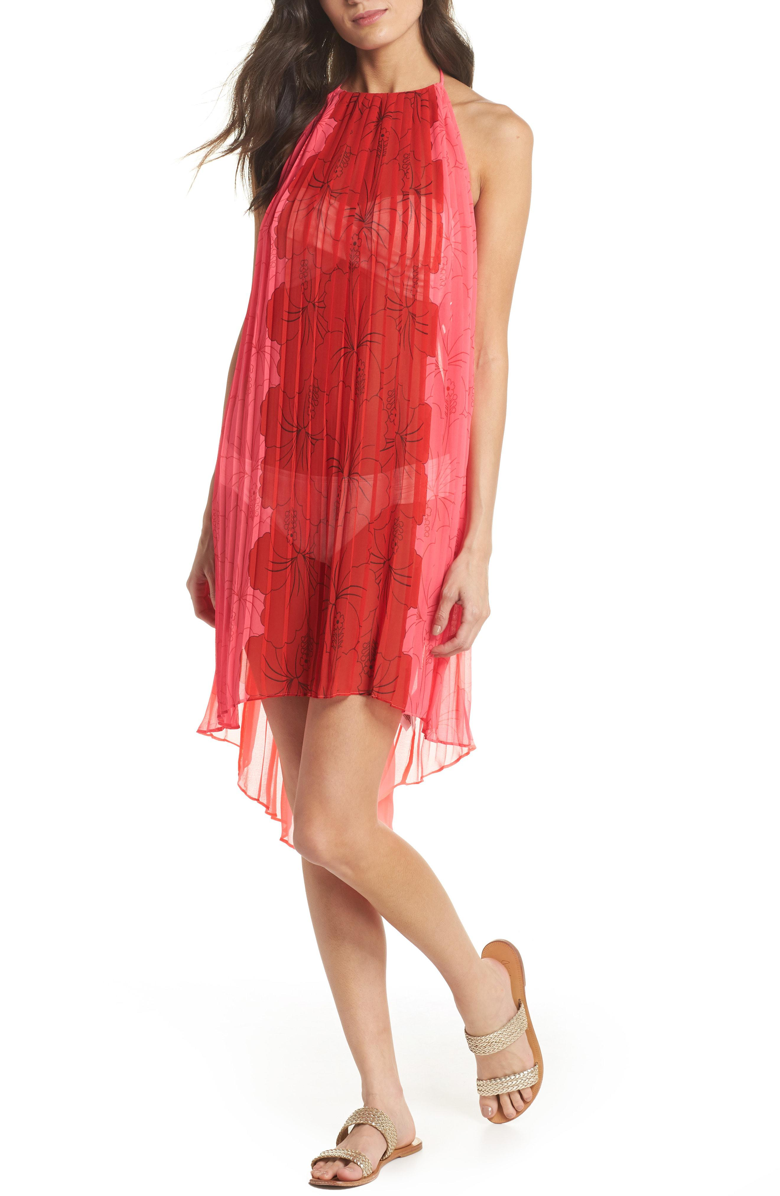 b812d967d90 Ted Baker Happiness Pleated Cover-up in Red - Lyst