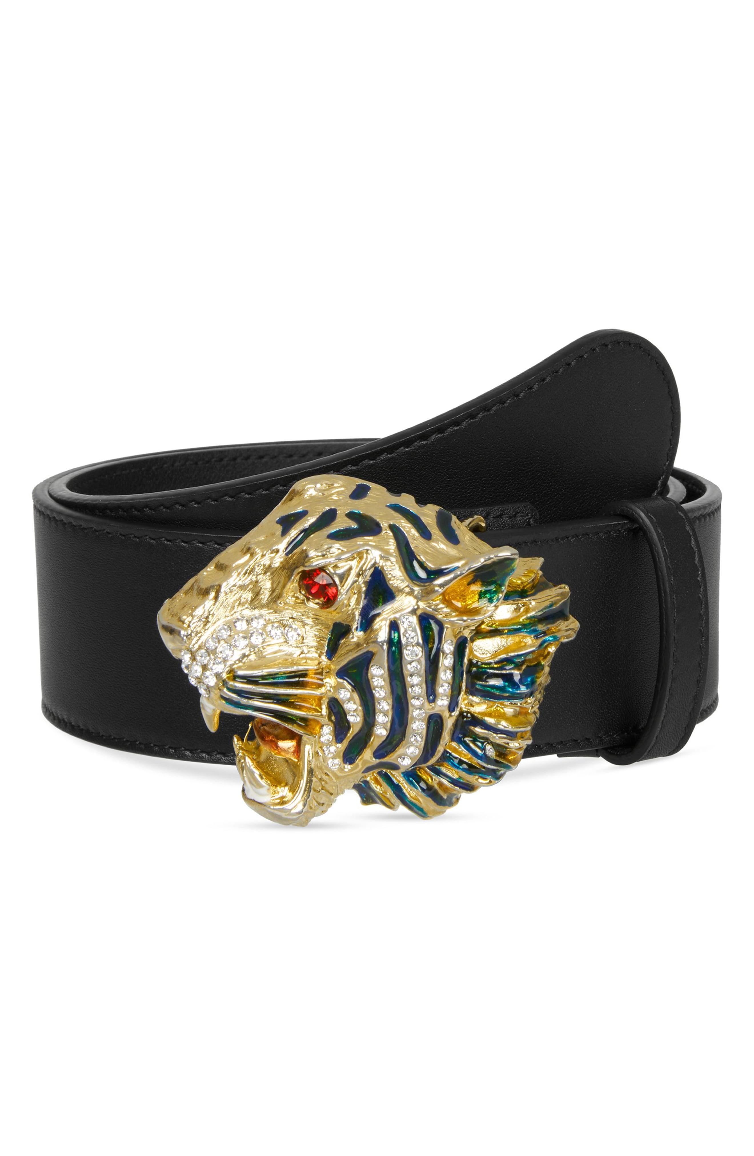 9c662050639 Lyst - Gucci Crystal Tiger Head Leather Belt in Black