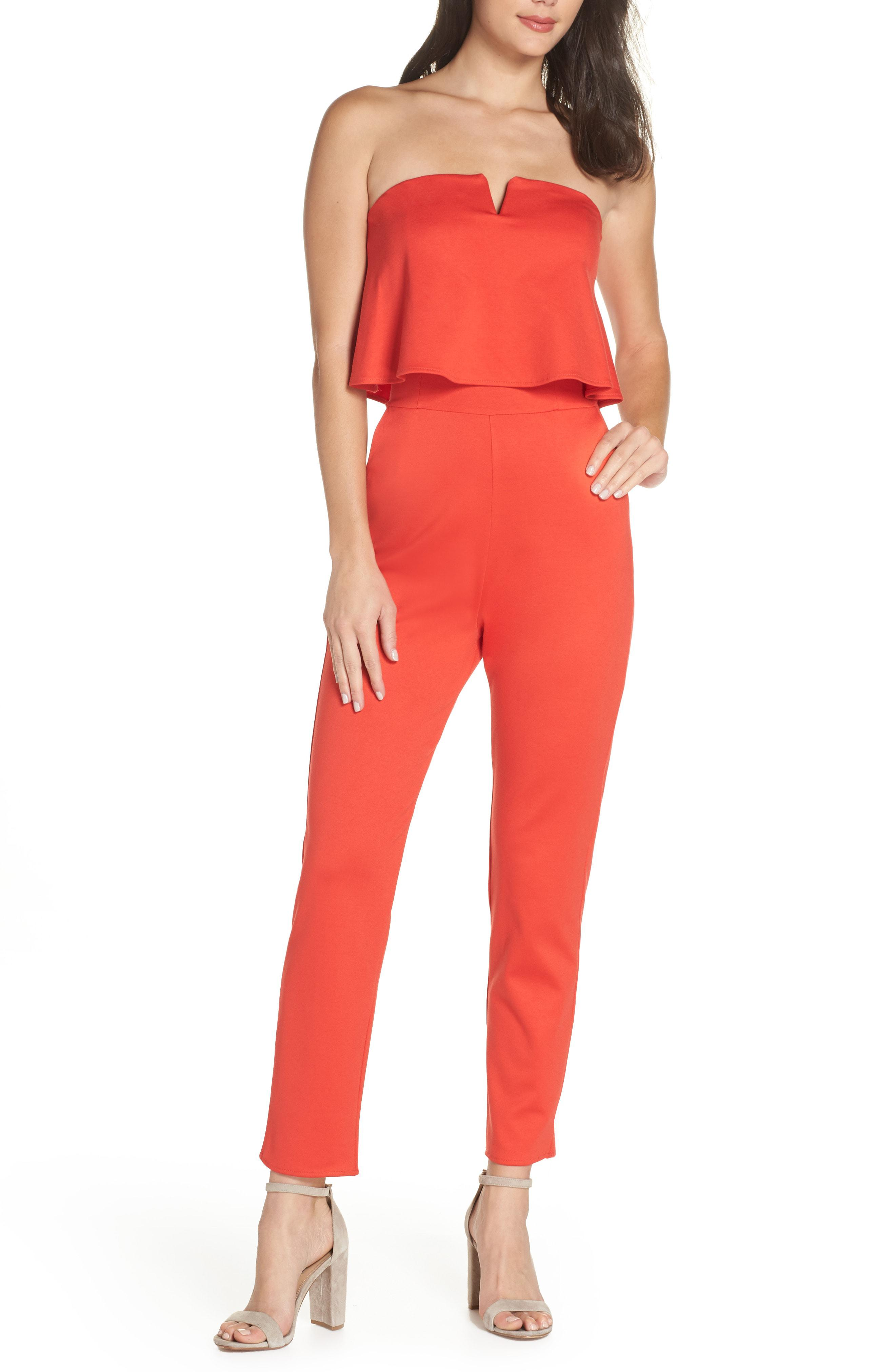 802a254dee9 Lyst - Fraiche By J Strapless Jumpsuit in Red