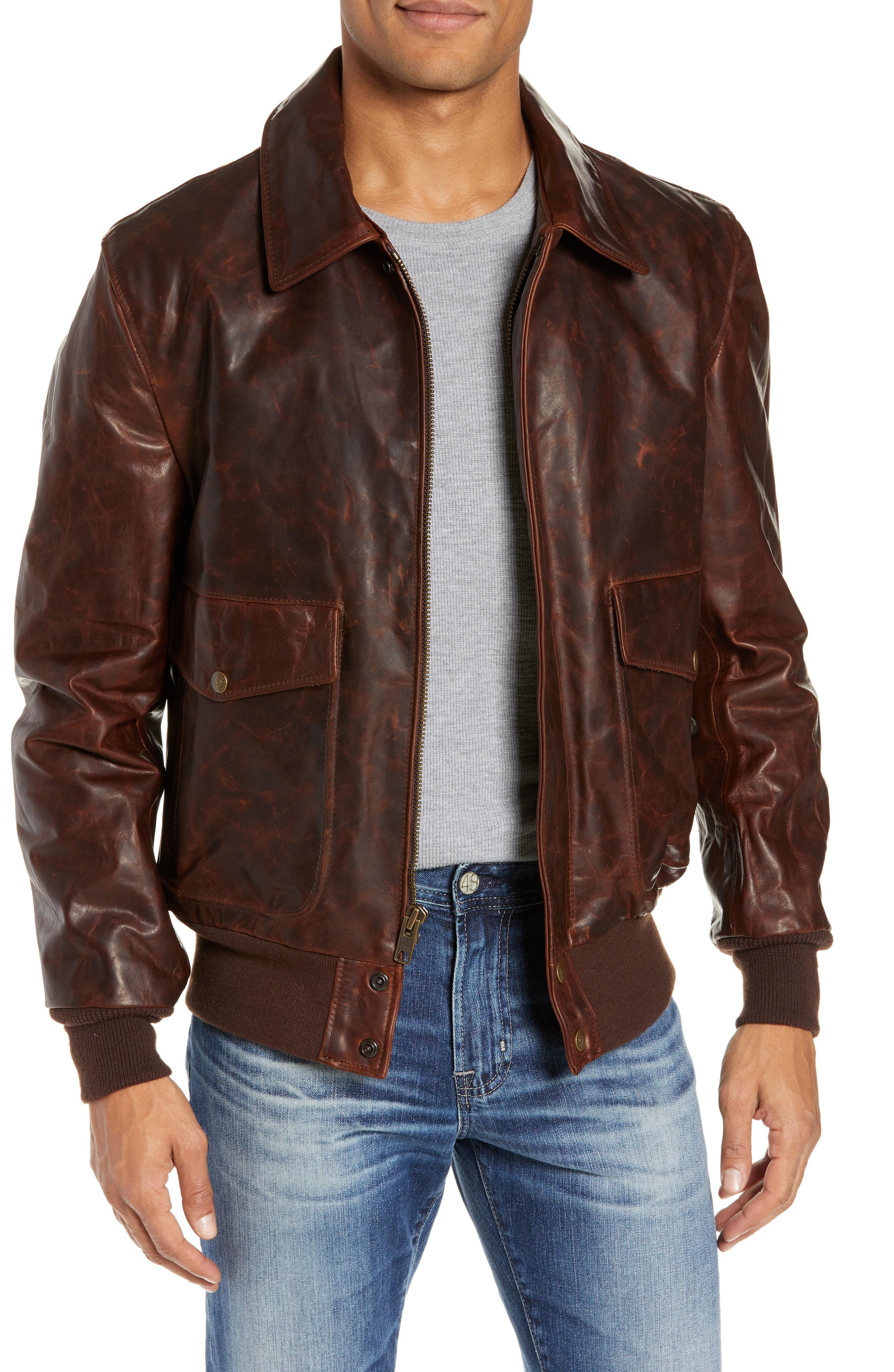 Schott Nyc Vintage Oiled Cowhide Leather Flight Jacket in