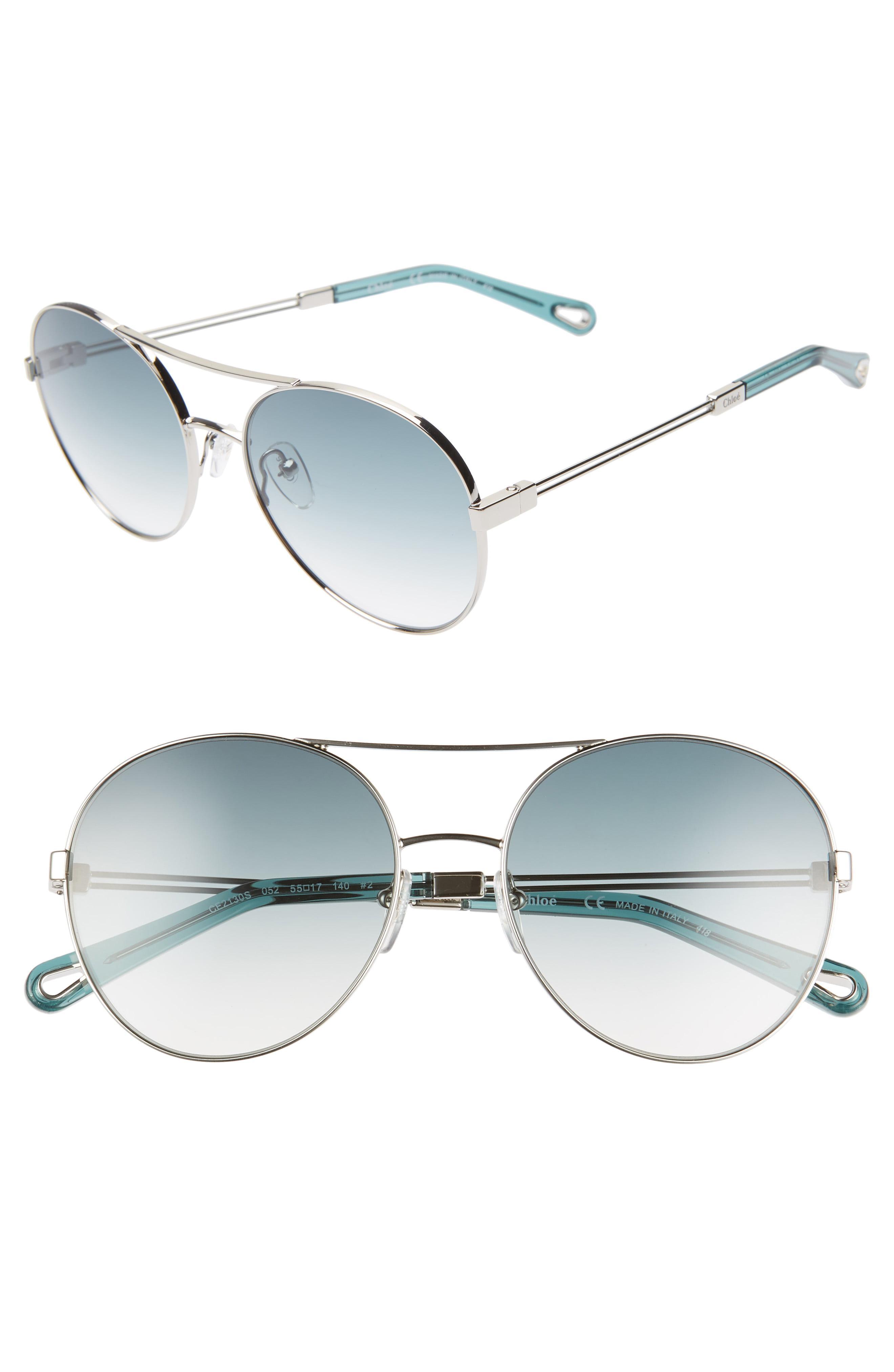 df2fc3ceca00 Lyst - Chloé Jacky 55mm Gradient Aviator Sunglasses in Metallic