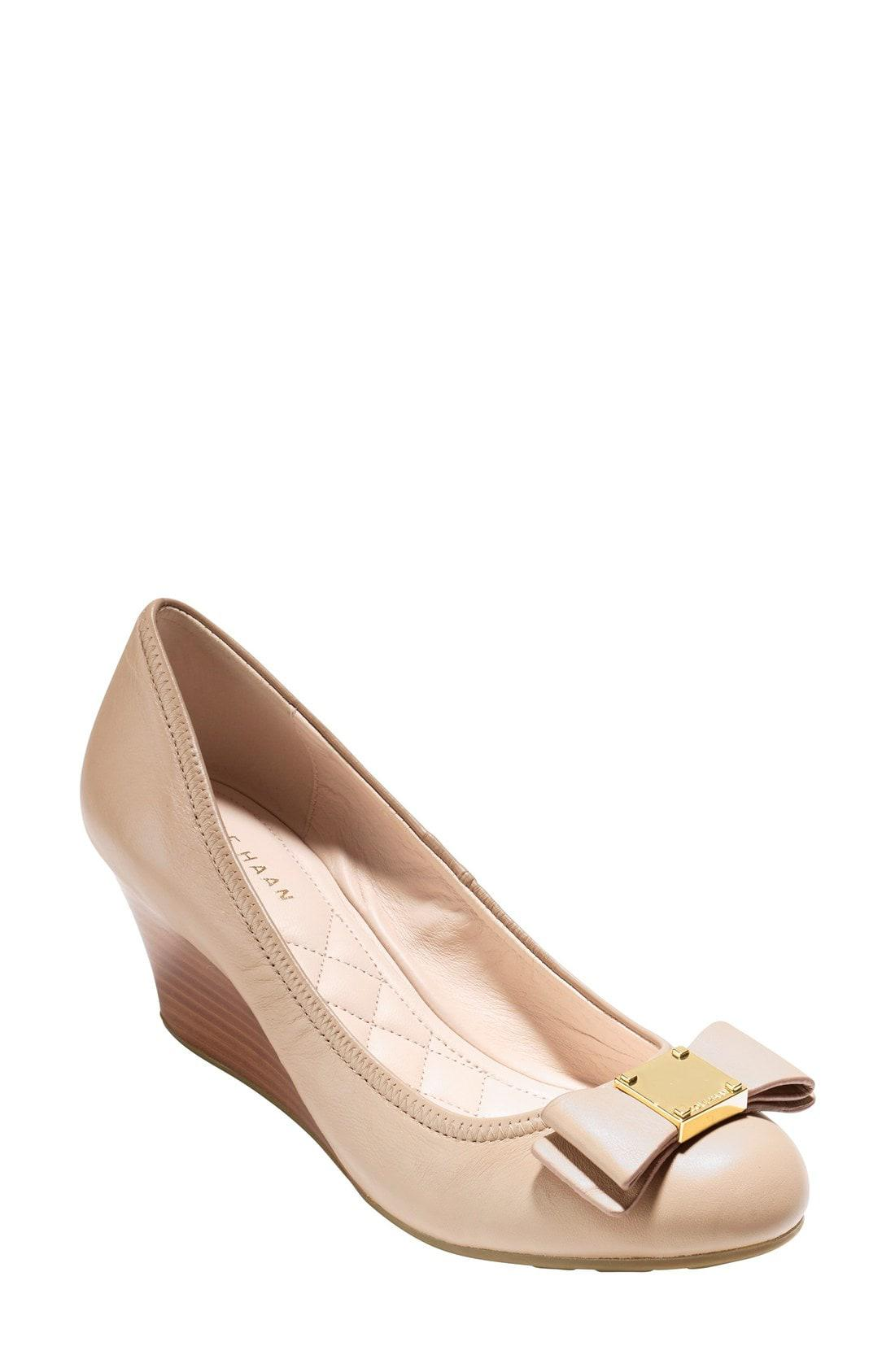 553b1bad6c Lyst - Cole Haan 'tali Grand' Bow Wedge Pump in Natural