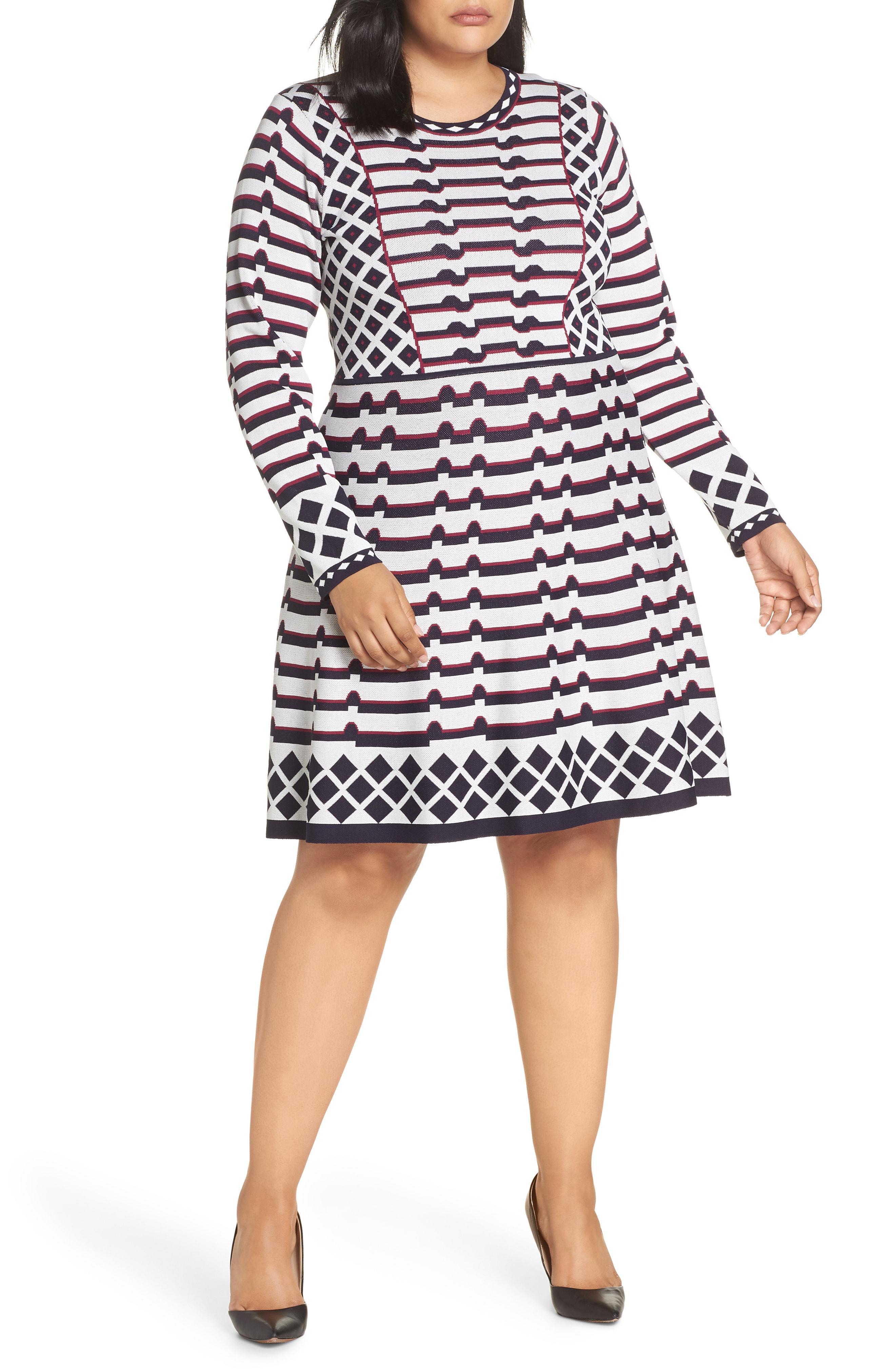 90c4765d5ce Lyst - Eliza J Artwork Jacquard Sweater Dress in Black