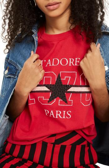 7aff34393c6e Lyst - Topshop Petite J adore Studded T-shirt in Red