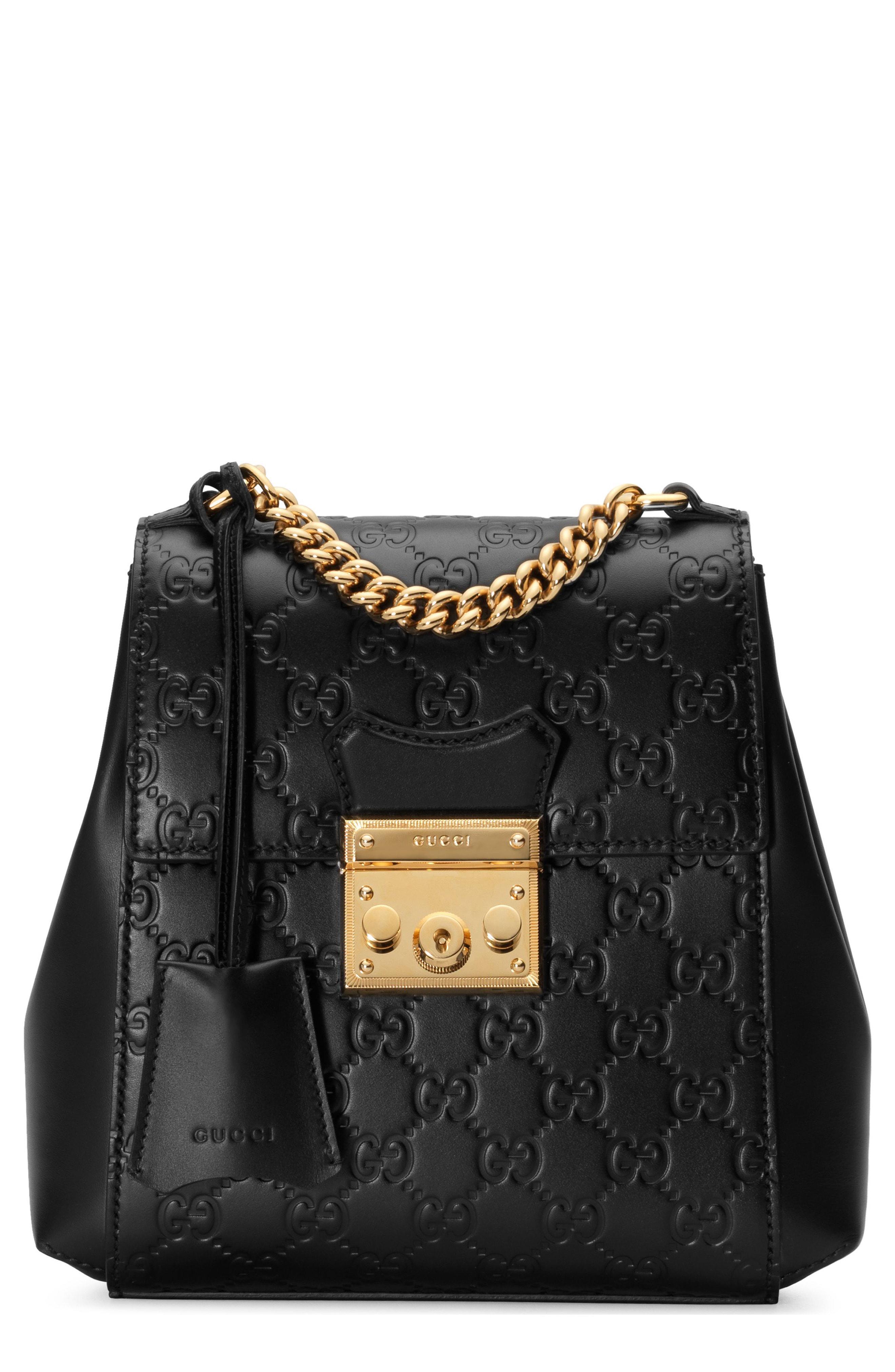 17188e93de9 Lyst - Gucci Gg Supreme Leather Padlock Backpack - in Black