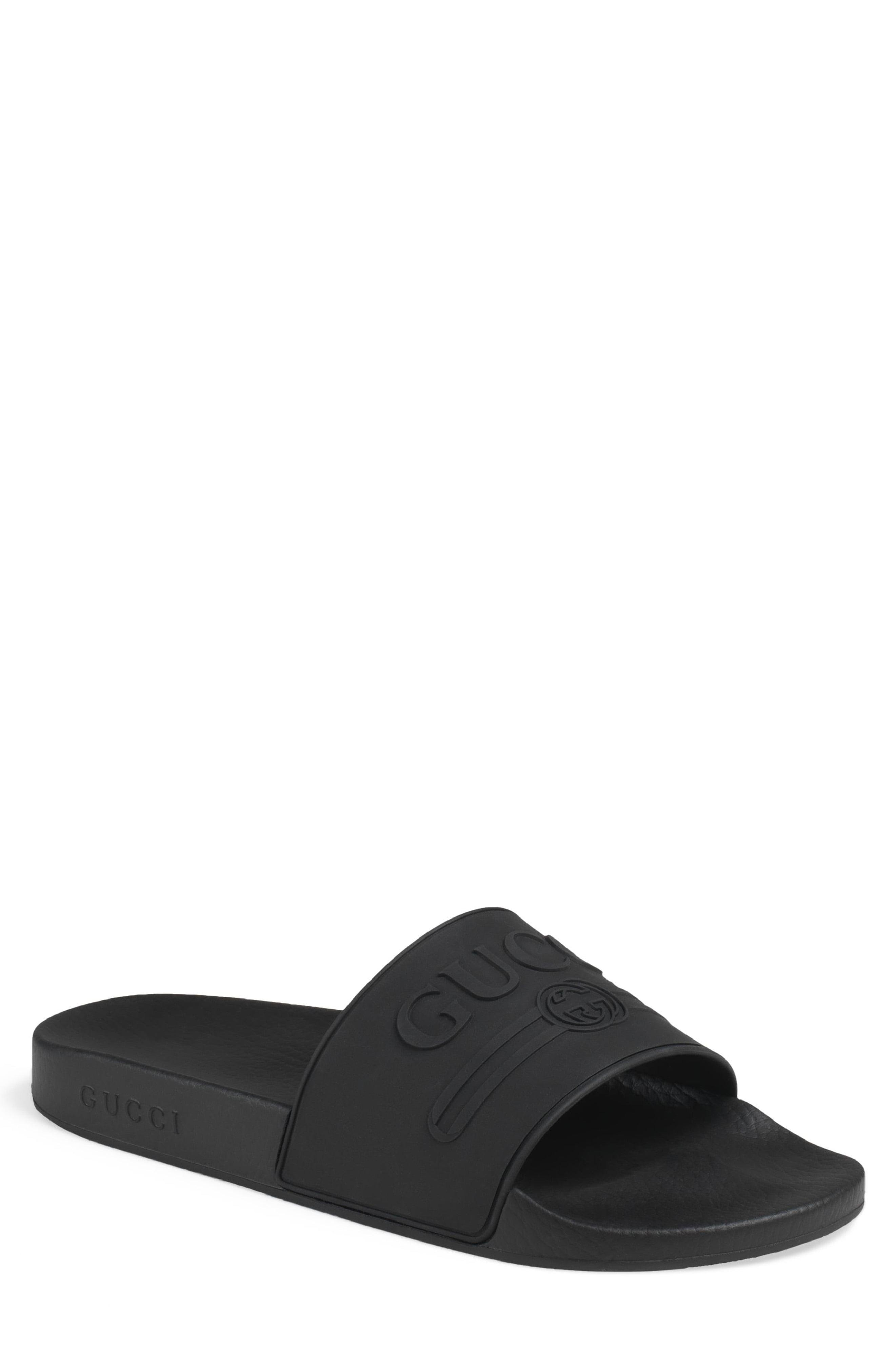 5a8f9bae4abd Lyst - Gucci Pursuit Logo Slides in Black for Men - Save 22%