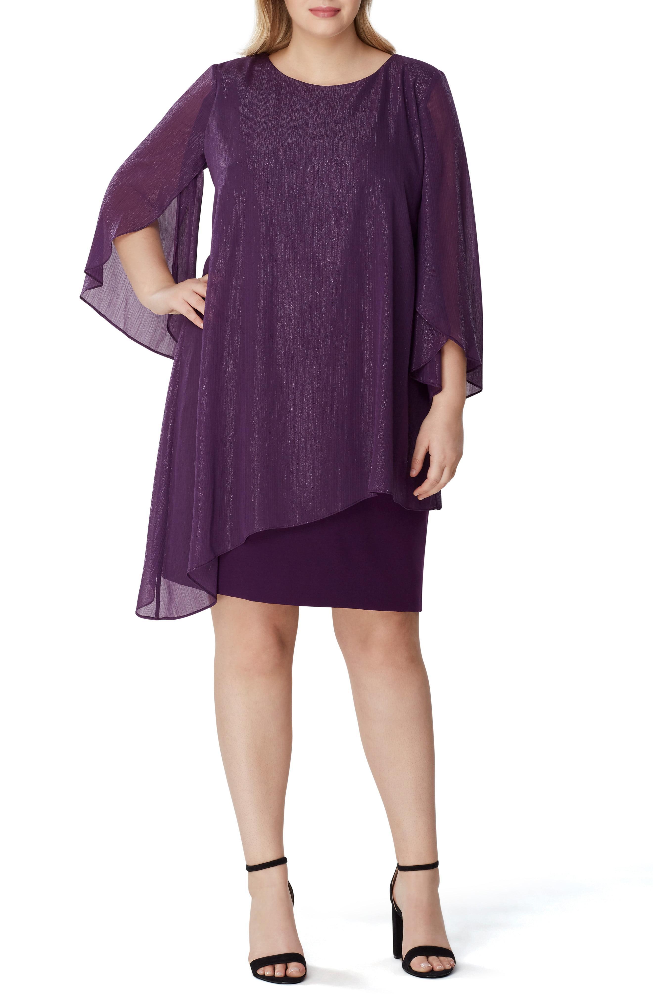 c77c2d1b41 Lyst - Tahari Metallic Chiffon Overlay Sheath Dress in Purple