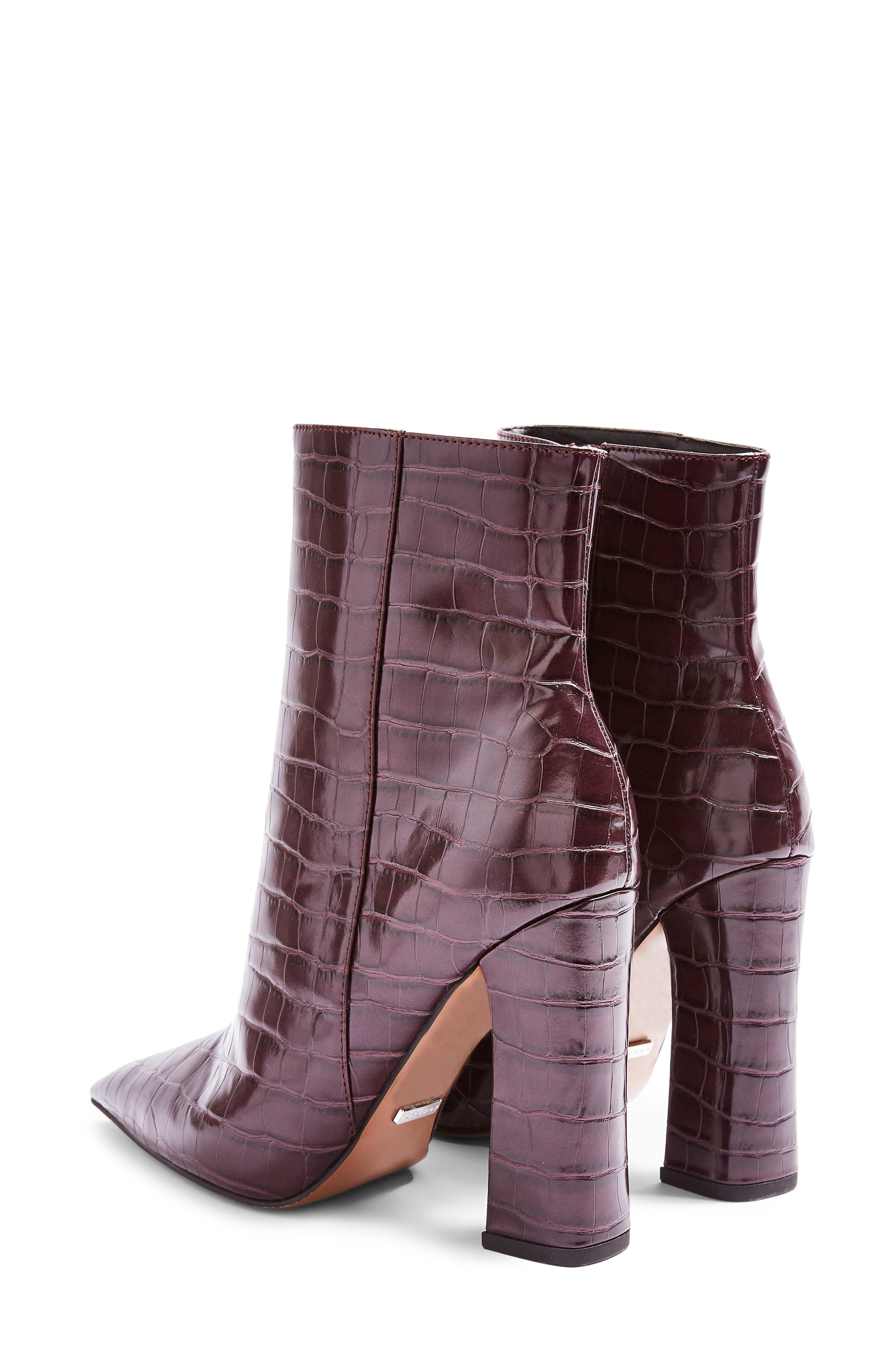 TOPSHOP Harri Point Toe High Heel Boots Burgundy size Uk 8
