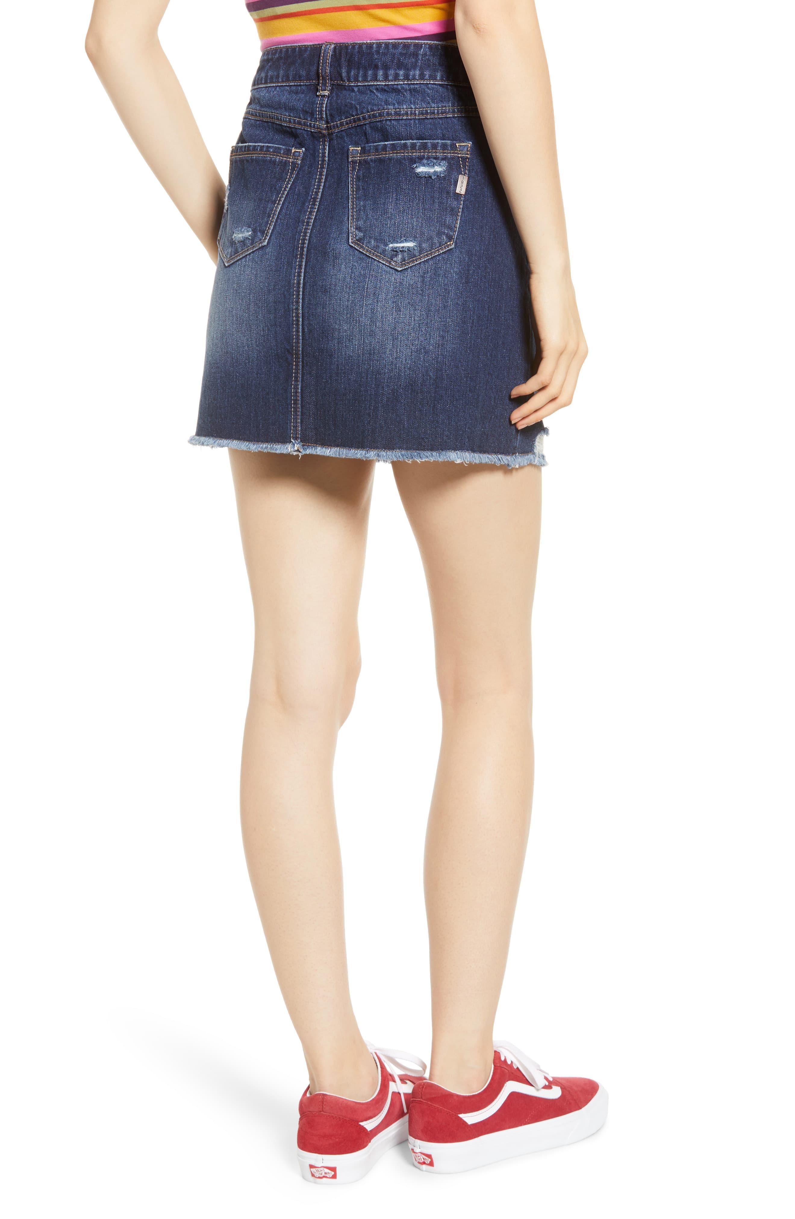 74cb8cc8de880 1822 Denim Ripped Denim Miniskirt in Blue - Lyst