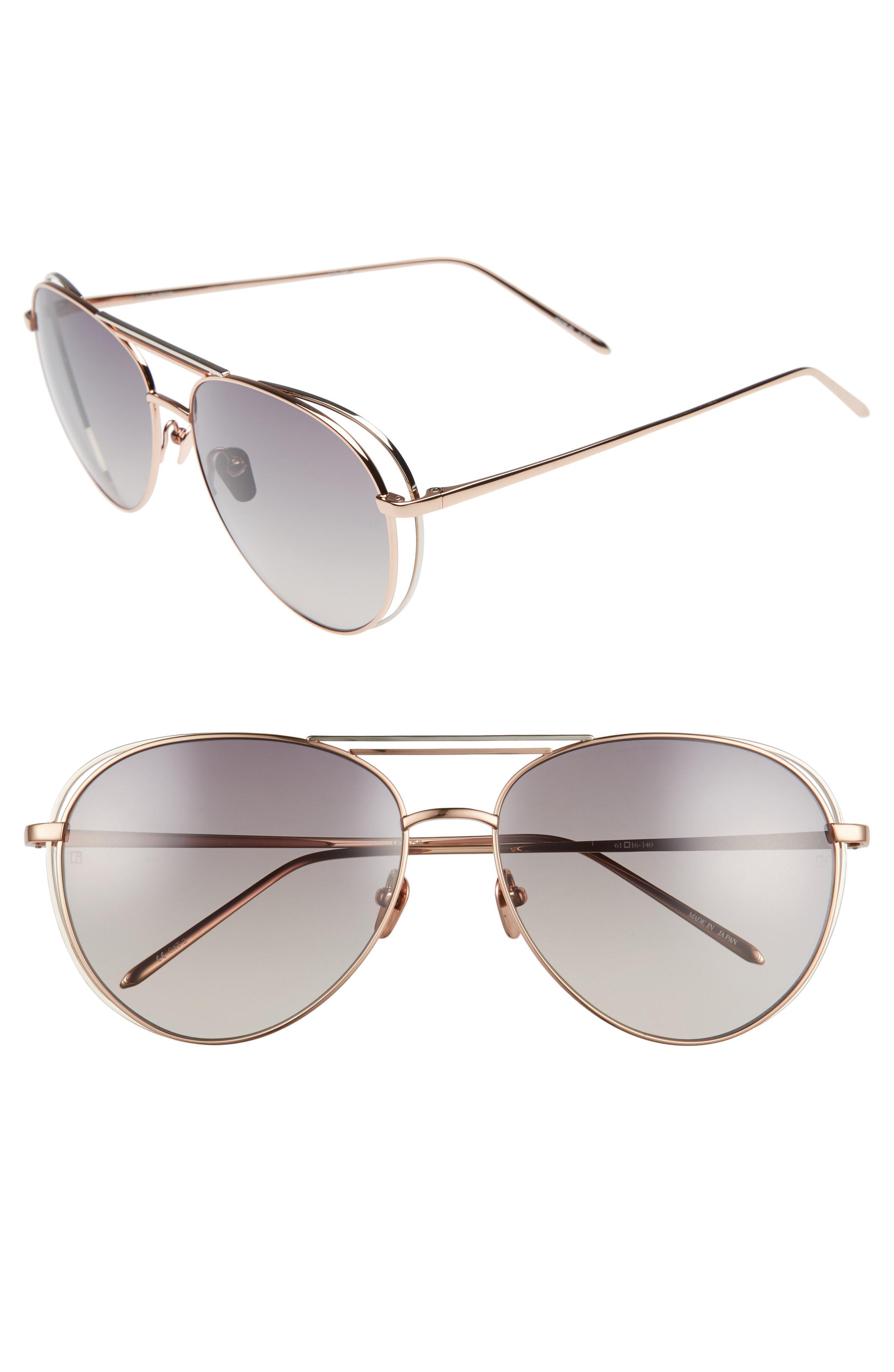 f6544763355 Lyst - Linda Farrow 61mm 18 Karat Gold Aviator Sunglasses - in Metallic