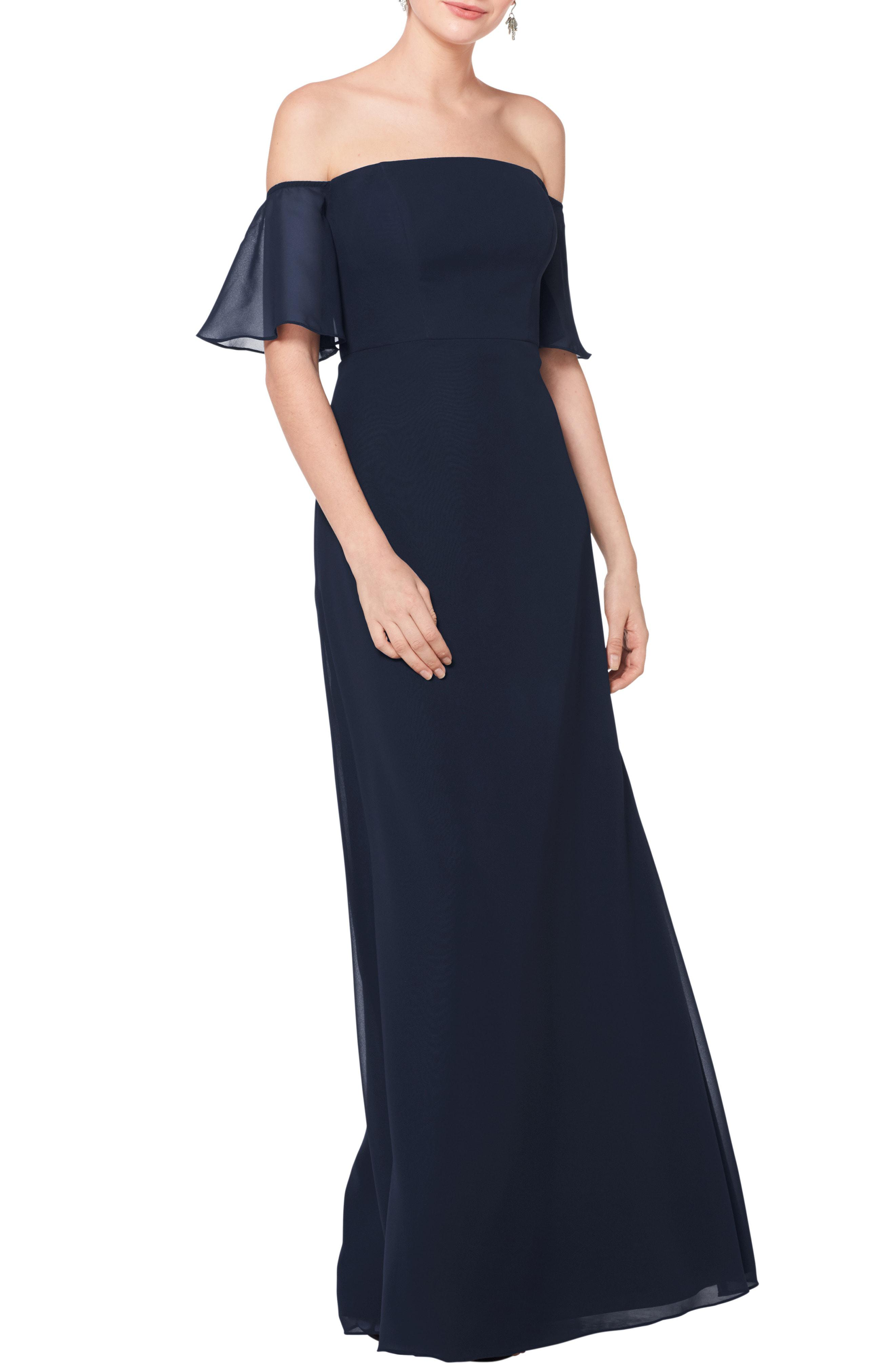 1a188c444415 Bill Levkoff. Women's Blue # Off The Shoulder Fluted Sleeve Chiffon Gown