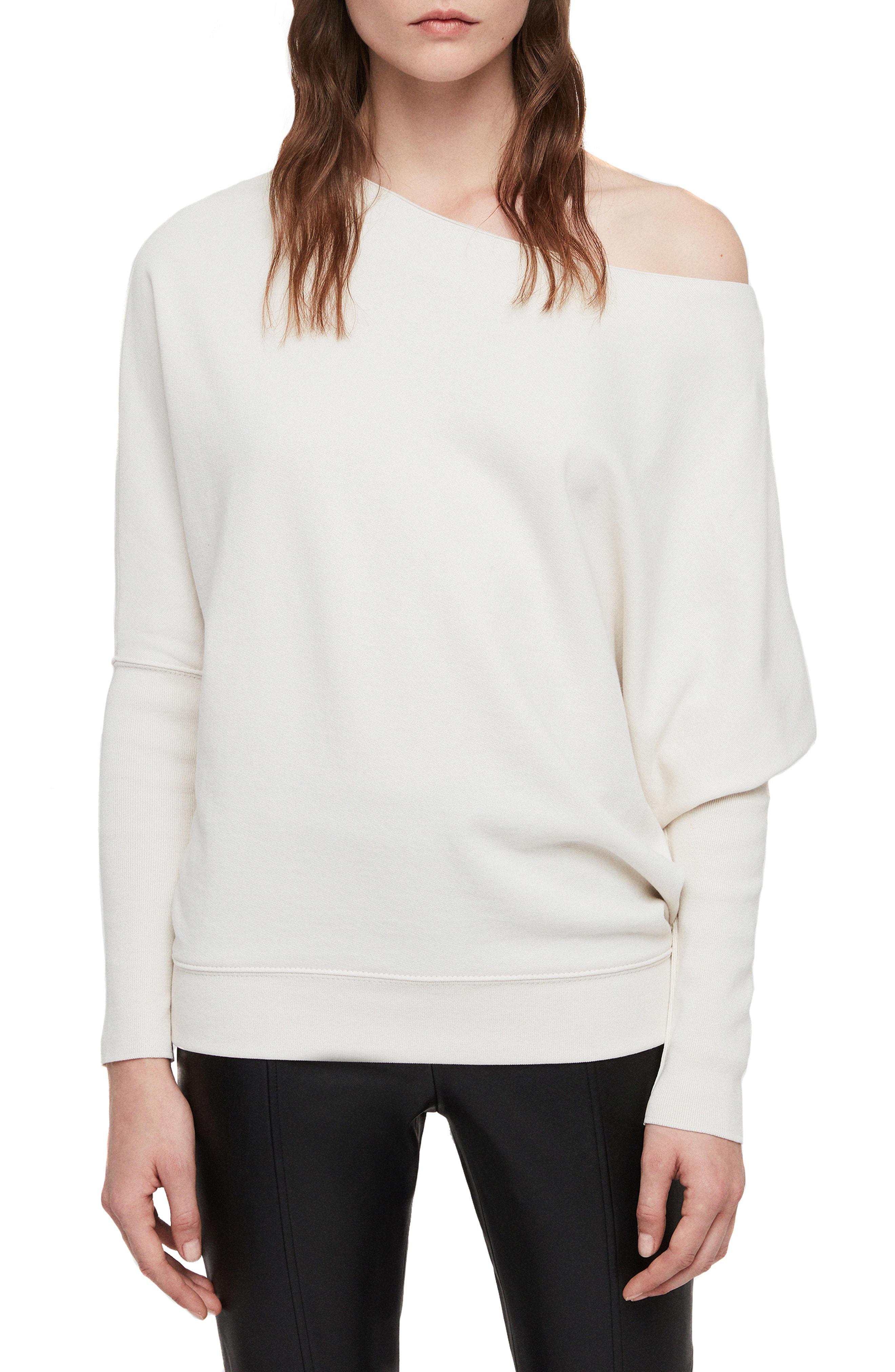 02afbe17a3e509 Lyst - AllSaints Ridley One-shoulder Sweatshirt in White