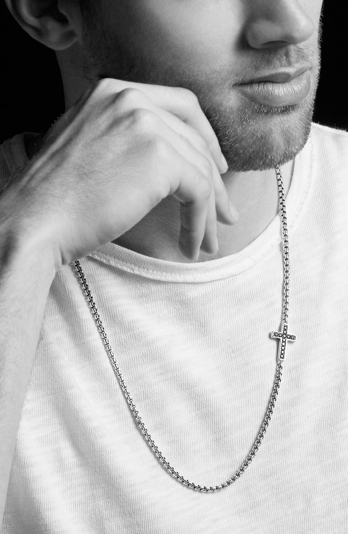 David Yurman Pave Black Diamond Cross Necklace In Metallic For Men Lyst