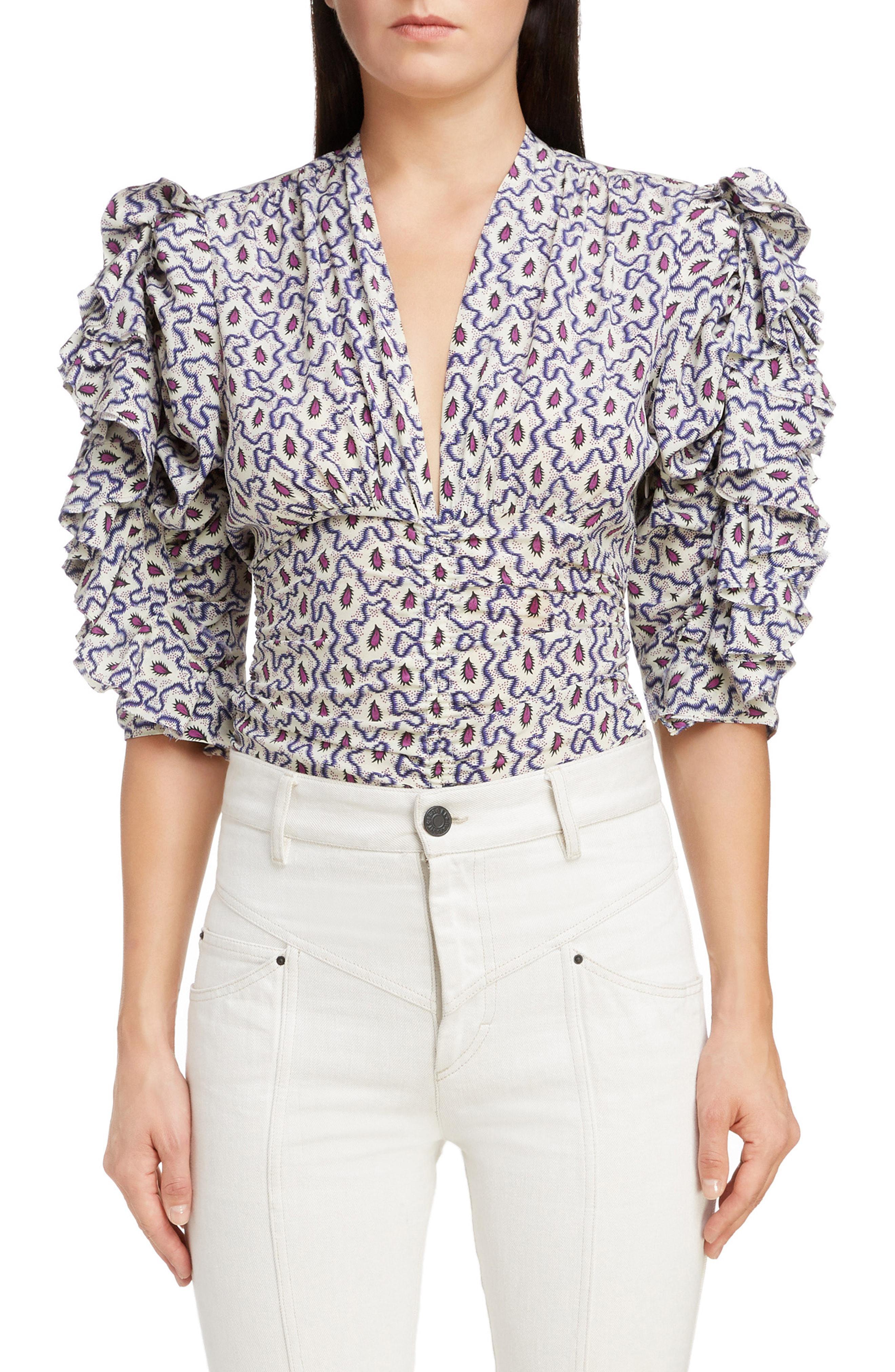 21142b078f650 Isabel Marant. Women s Print Ruffle Sleeve Stretch Silk Top