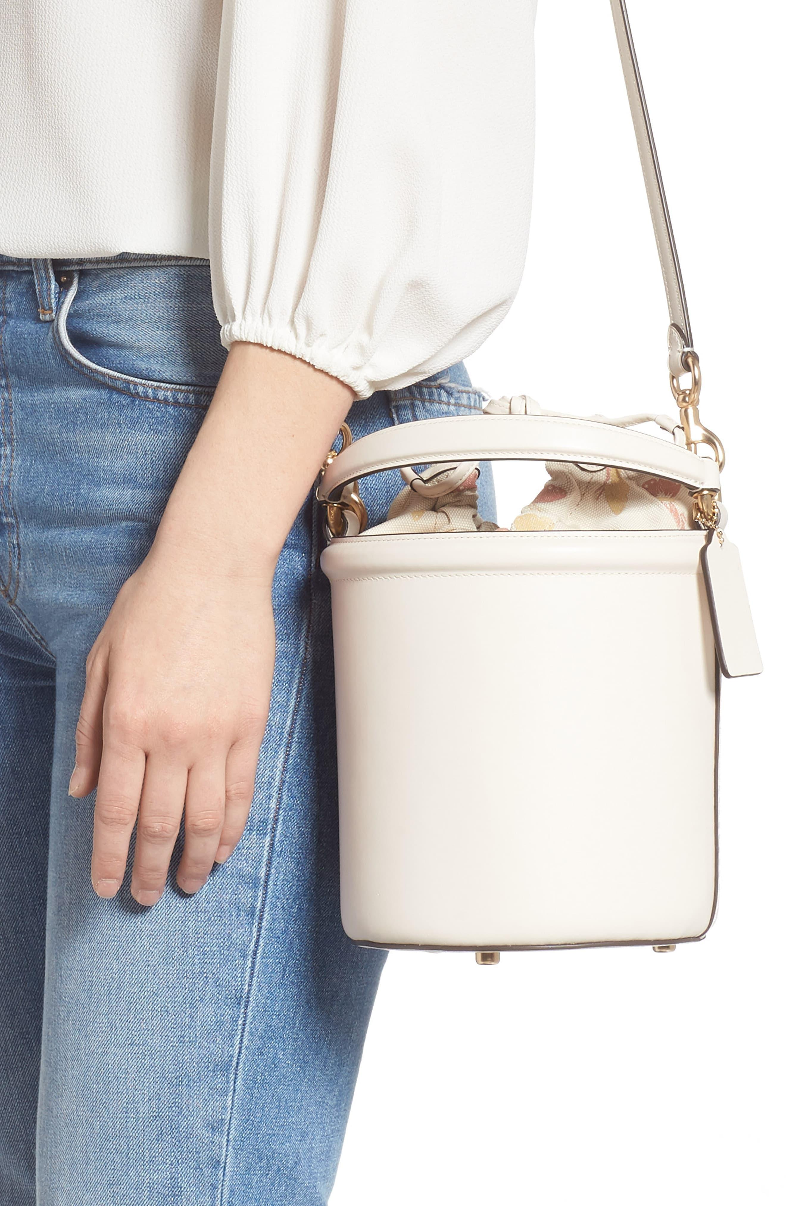 Coach Drawstring Leather Bucket Bag In Gd Chalk White Lyst