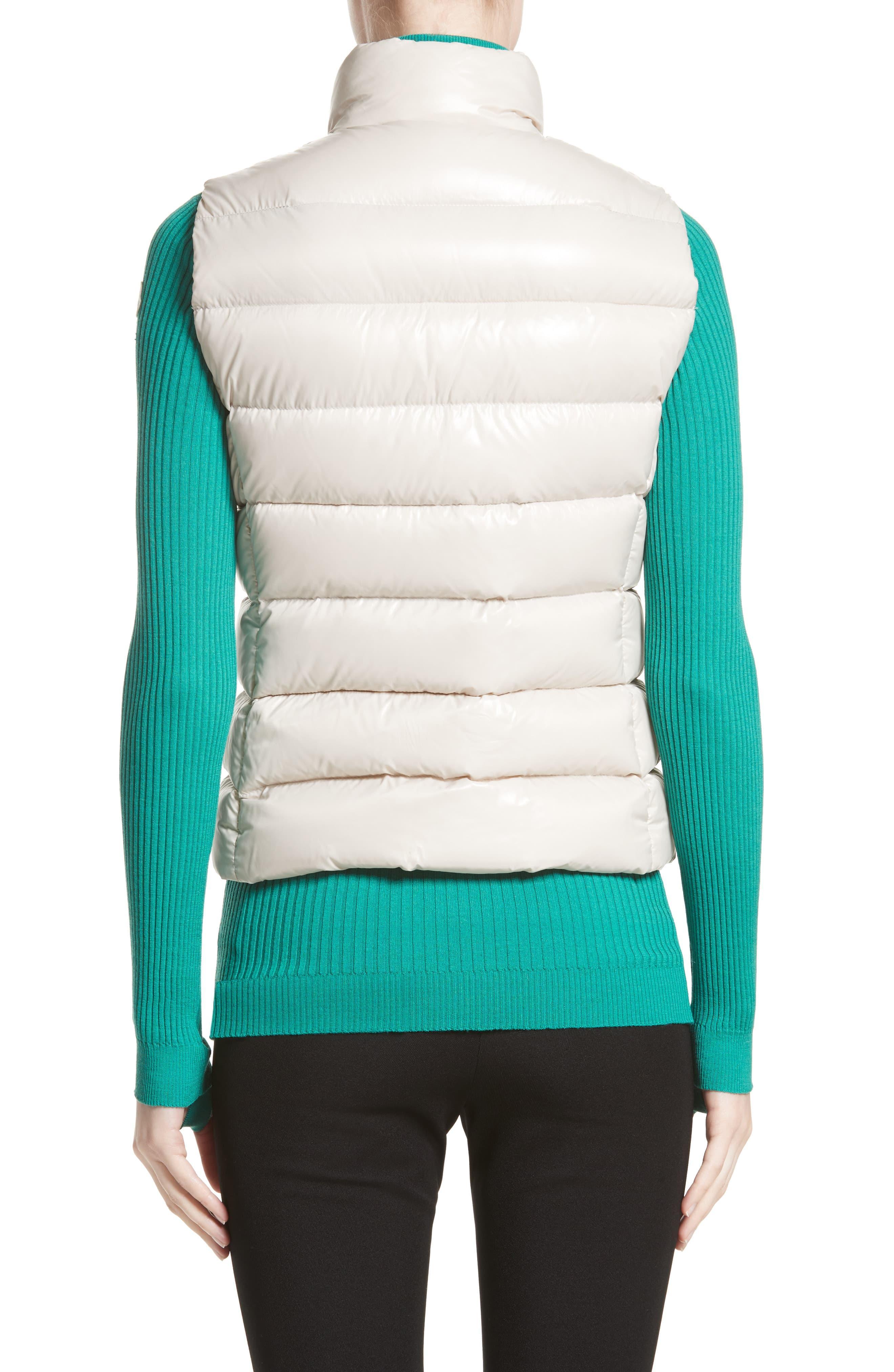 961f41343ba9 Moncler - White Ghany Water Resistant Shiny Nylon Down Puffer Vest - Lyst.  View fullscreen