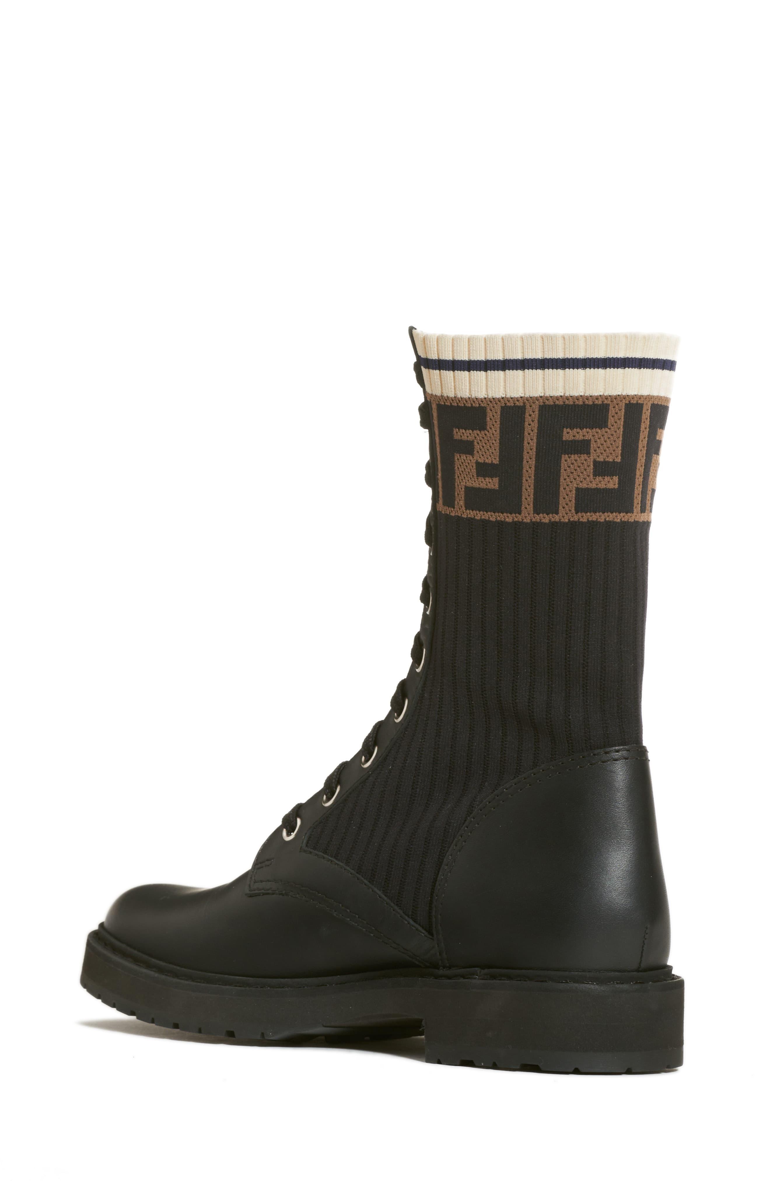 ac84bf1fe010d Fendi Black Rockoko Chelsea Sock Combat Boot. View fullscreen