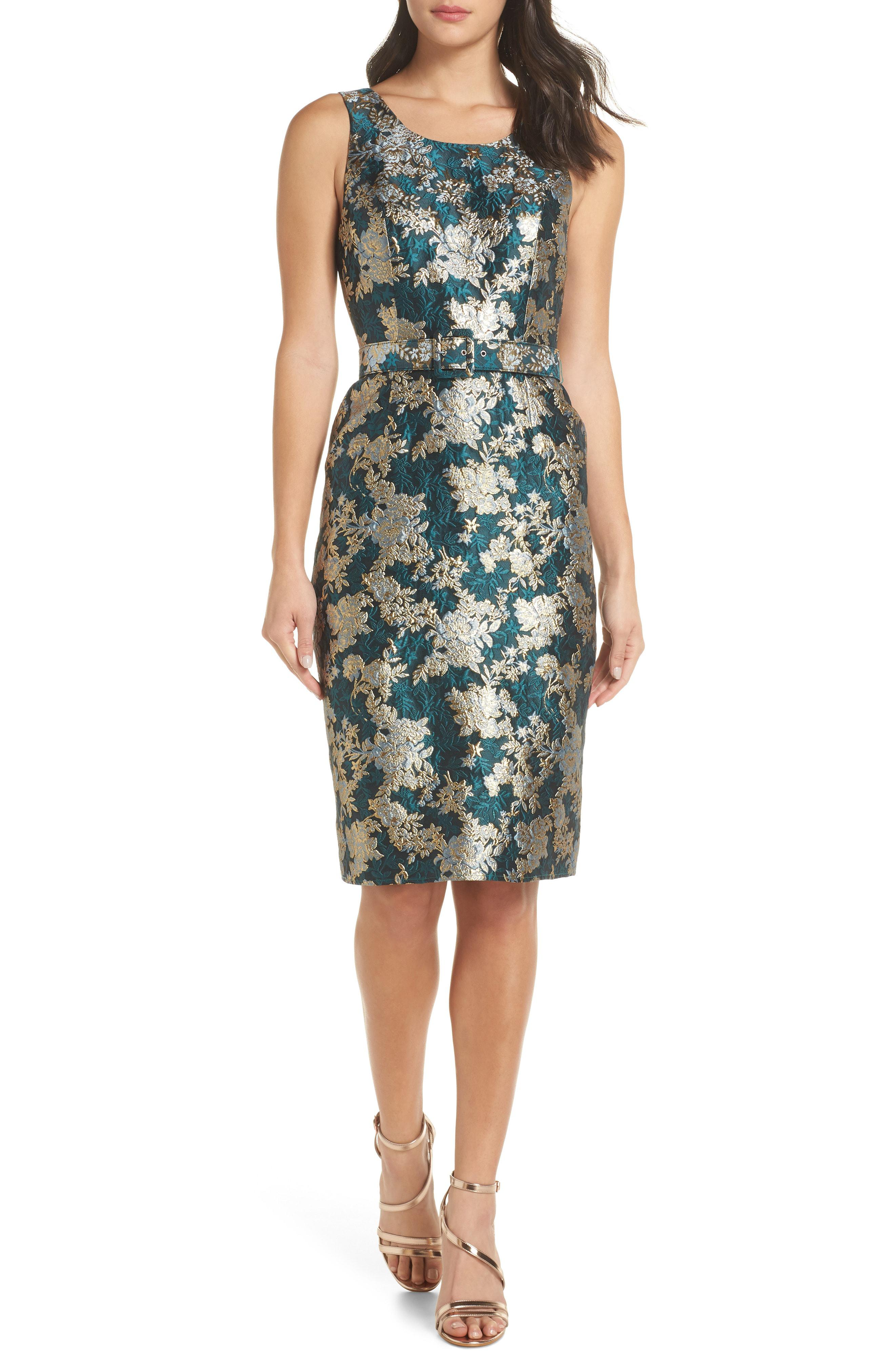 75e328249593 Lyst - Charles Henry Belted Jacquard A-line Dress in Green