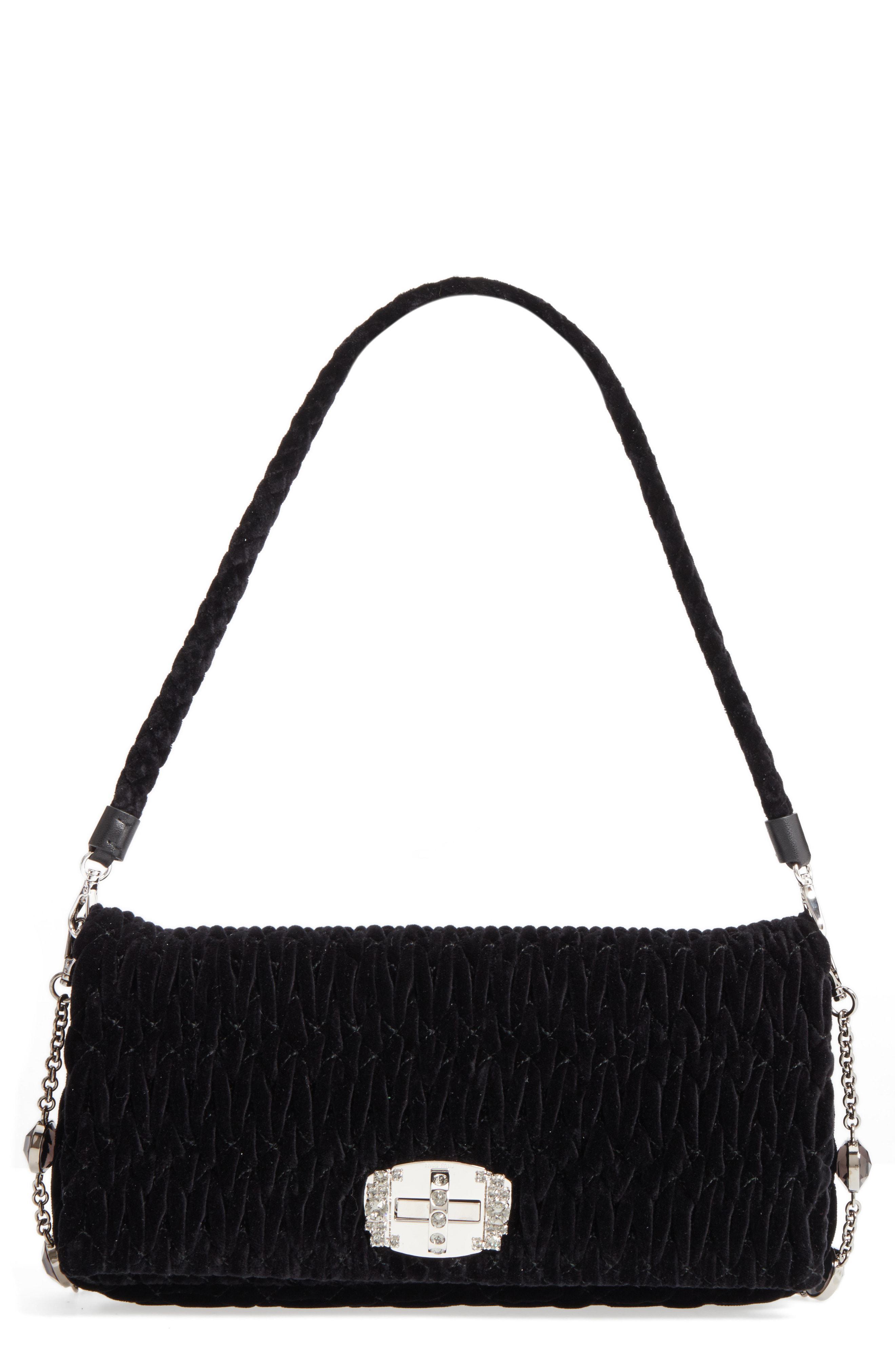 Miu Miu. Women s Black Medium Crystal Embellished Quilted Velvet Shoulder  Bag 9c79350f17b99