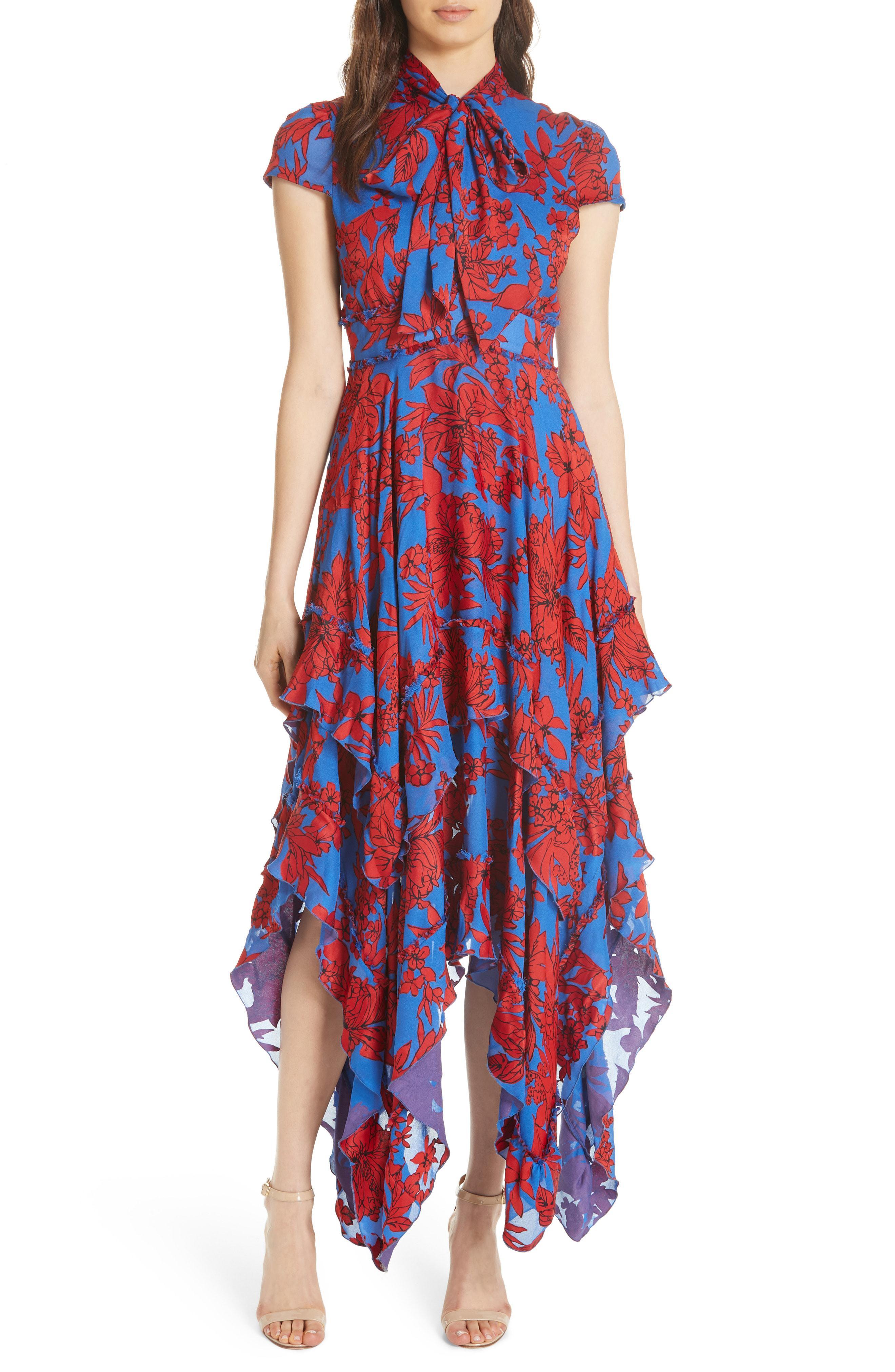 b44413a11a Alice + Olivia Ilia Ruffled Floral-print Crepe De Chine Midi Dress ...