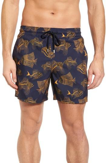 Lyst vilebrequin prehistoric fish swim trunks in blue for Fishing swim trunks