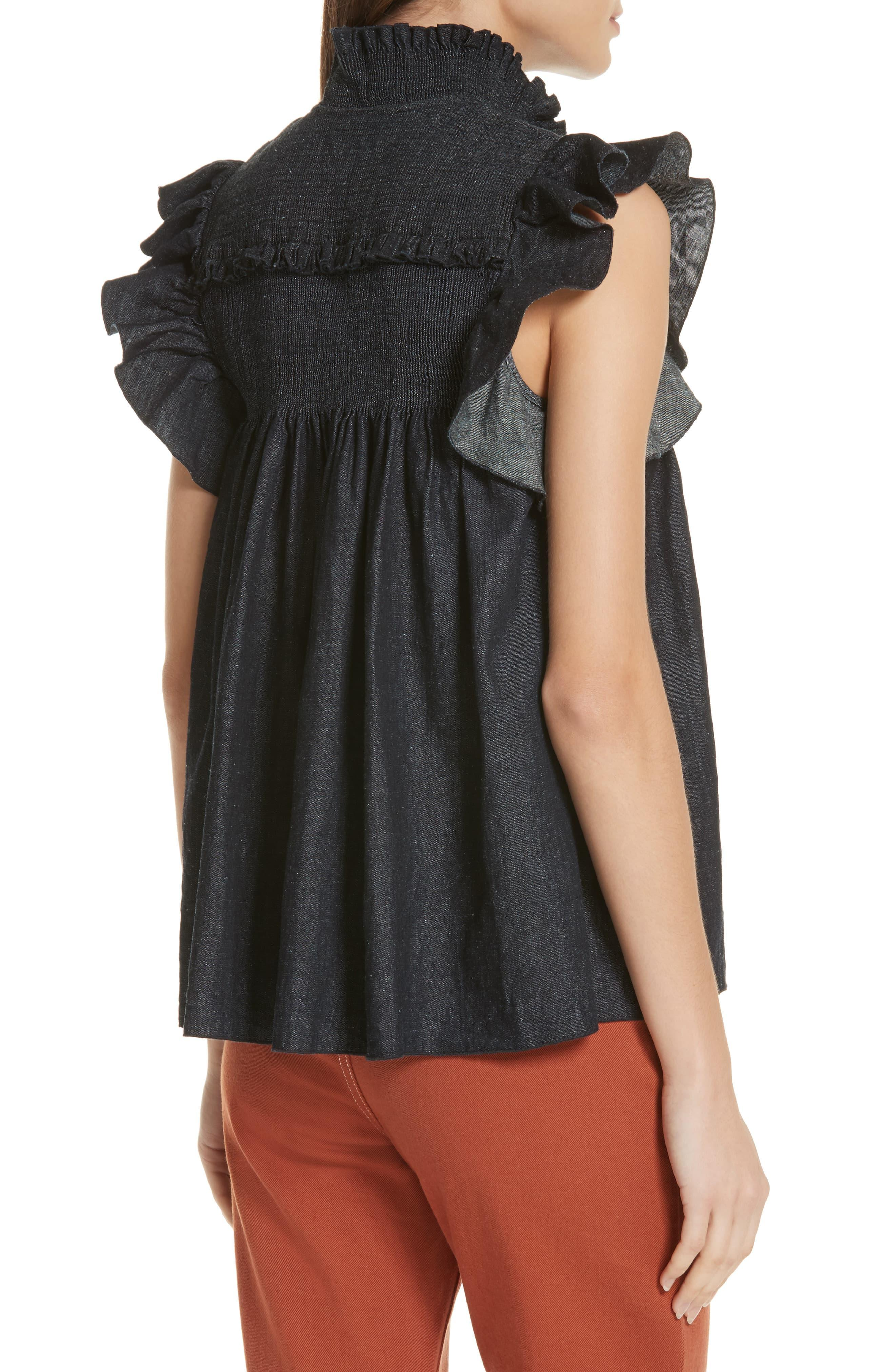 2241a50dd6376 See By Chloé See By Chloé Smocked Ruffle Sleeve Chambray Top in ...