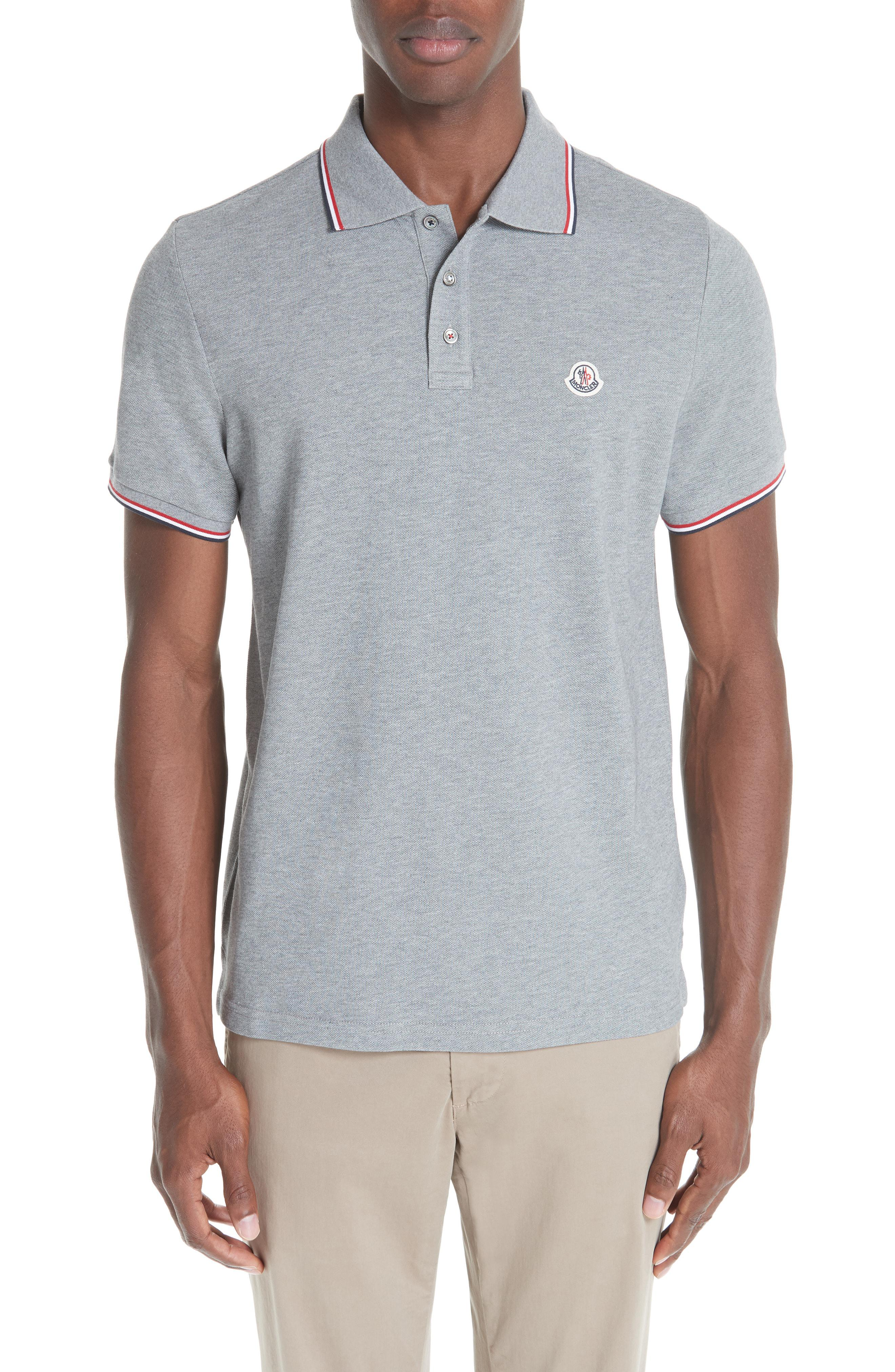6c3f50d21d7d Lyst - Moncler Maglia Pique Polo in Gray for Men