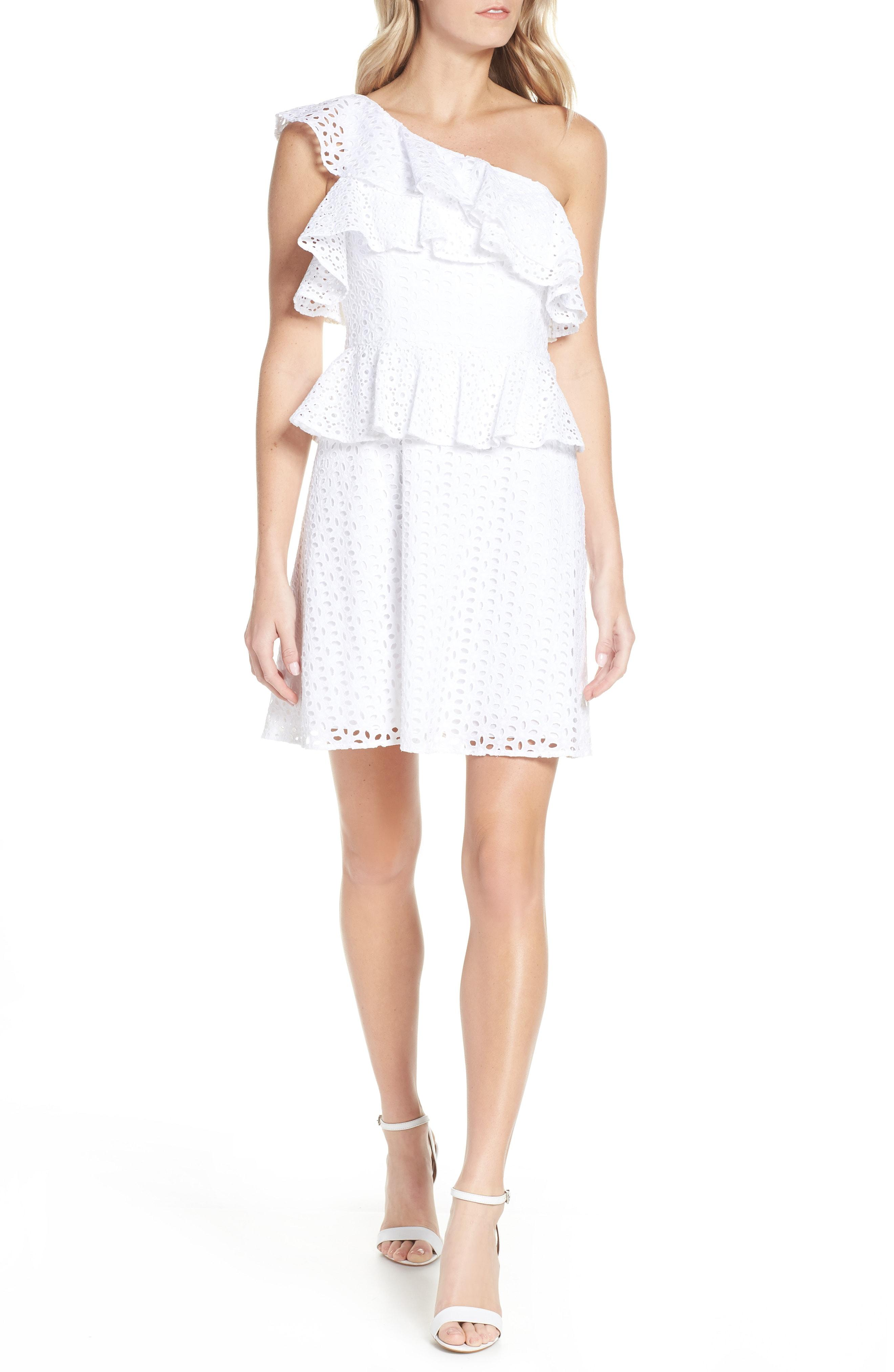 0b37678800 Lilly Pulitzer. Women s White Lilly Pulitzer Josey Eyelet One-shoulder Dress
