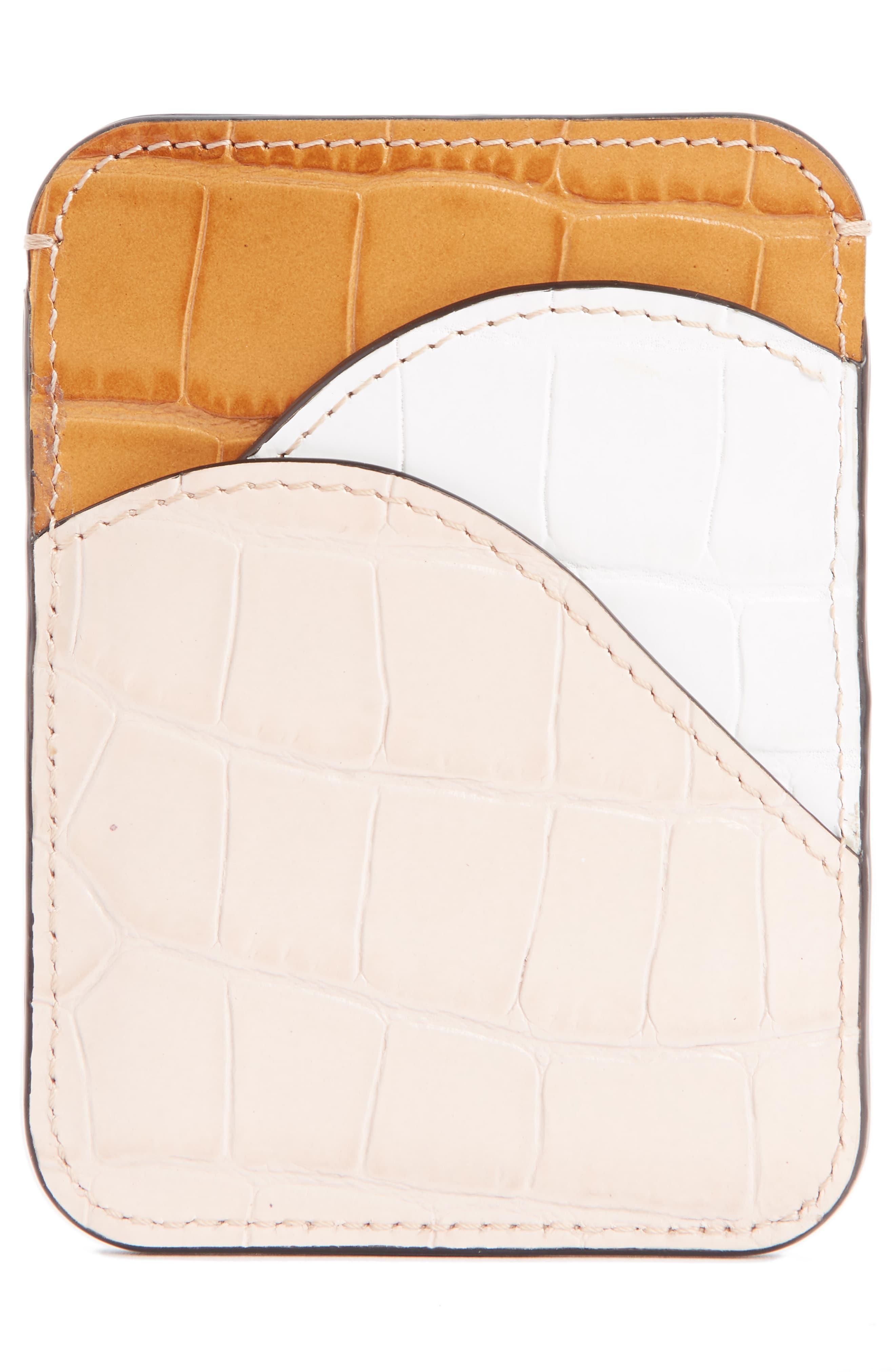 2016c143 Chloé Natural Chloé Walden Crocodile Embossed Leather Card Holder -
