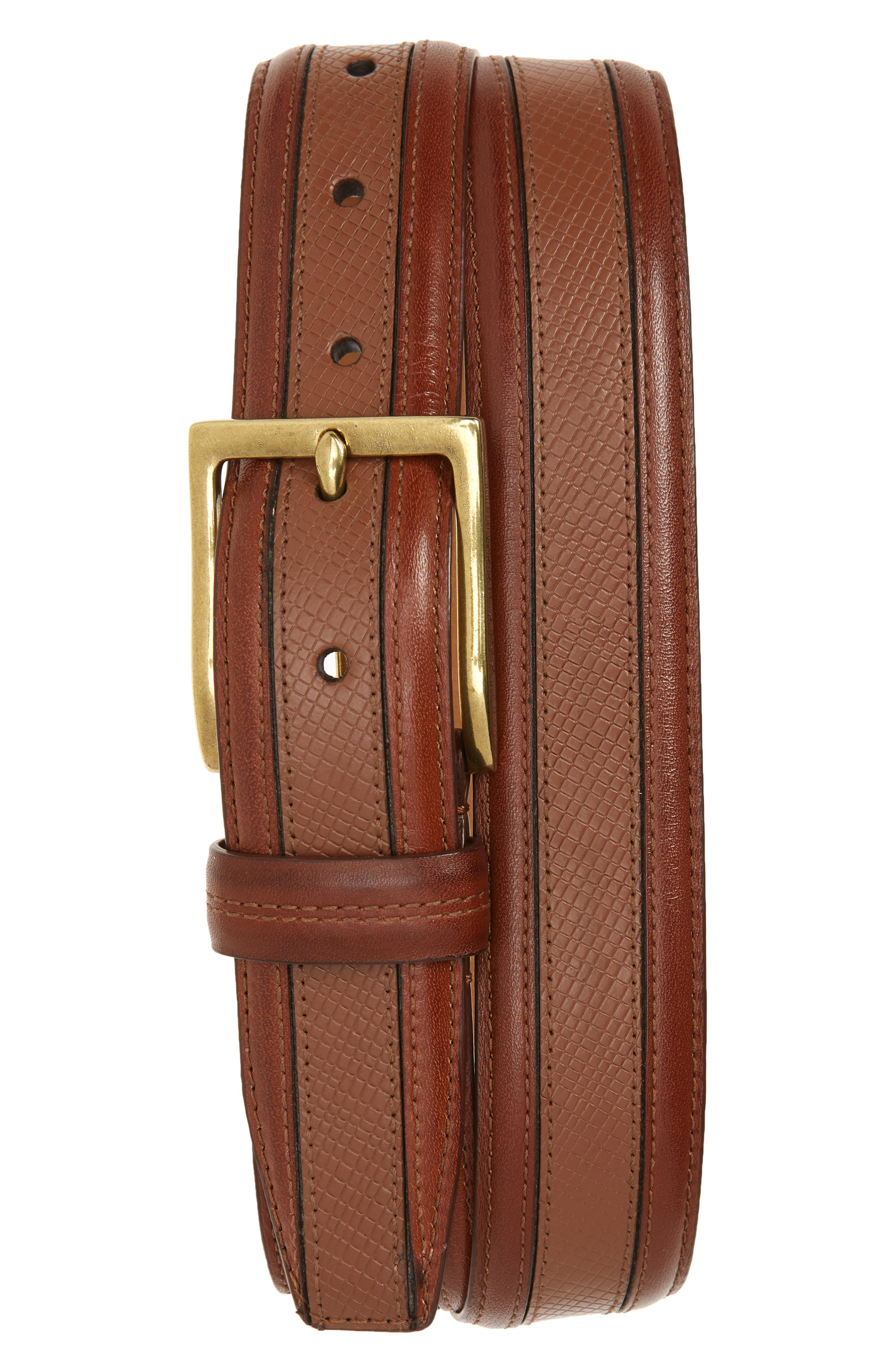 COLE HAAN FEATHER EDGE SUEDE LEATHER TRIMED BELT NAVY W//LEATHER NWT
