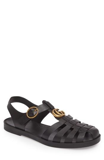 Gucci Leather Glossy Fisherman Sandal