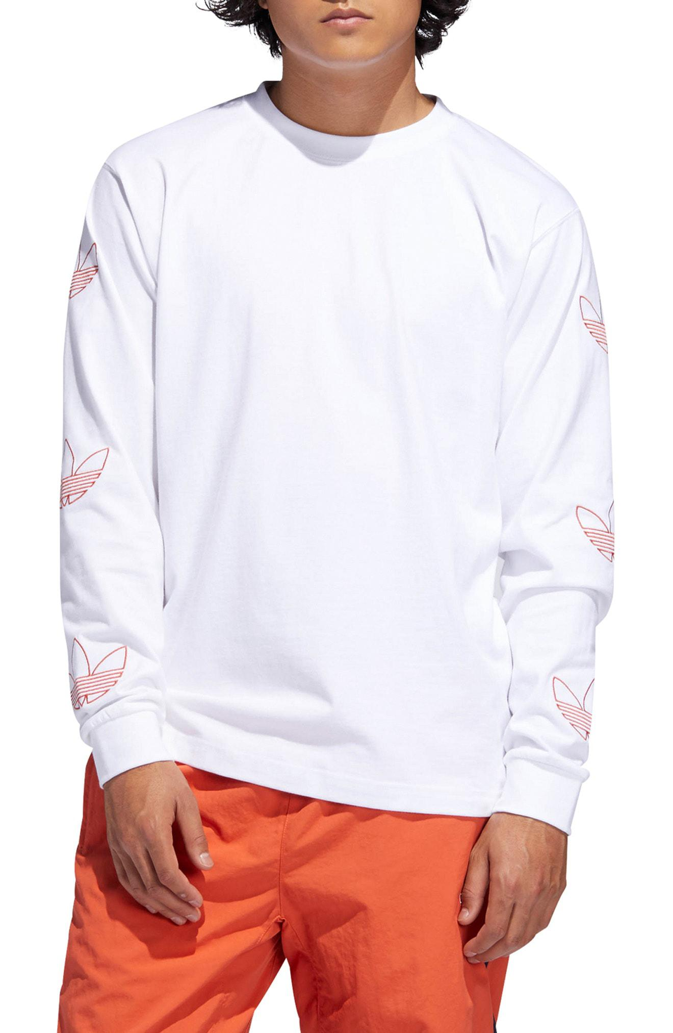 watch 2d595 388b4 adidas Originals. Mens White Embroidered Trefoil Long Sleeve T-shirt
