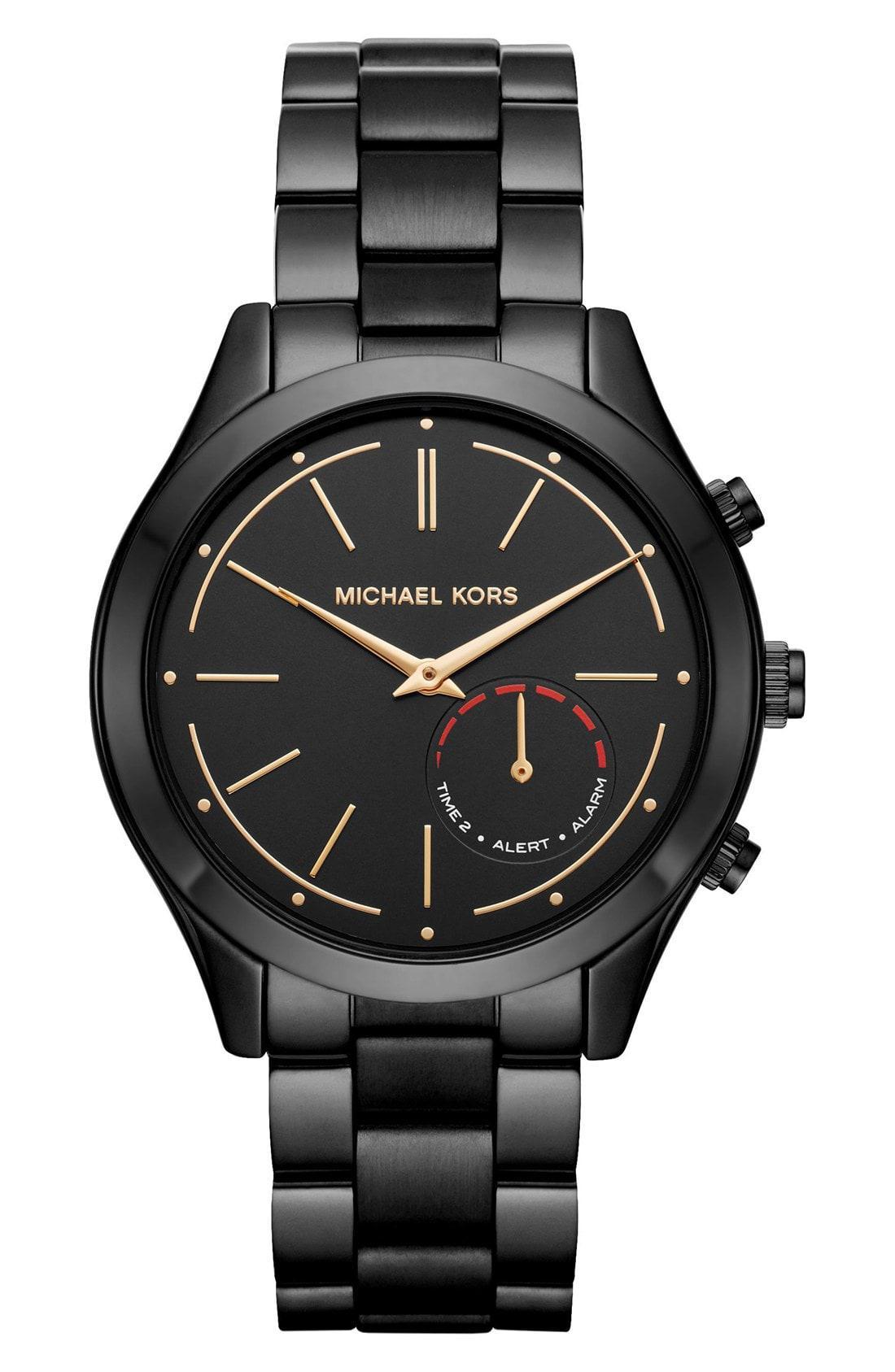 1422fe4f940c ... Black Michael Michael Kors Slim Runway Smart Watch - Lyst. View  fullscreen