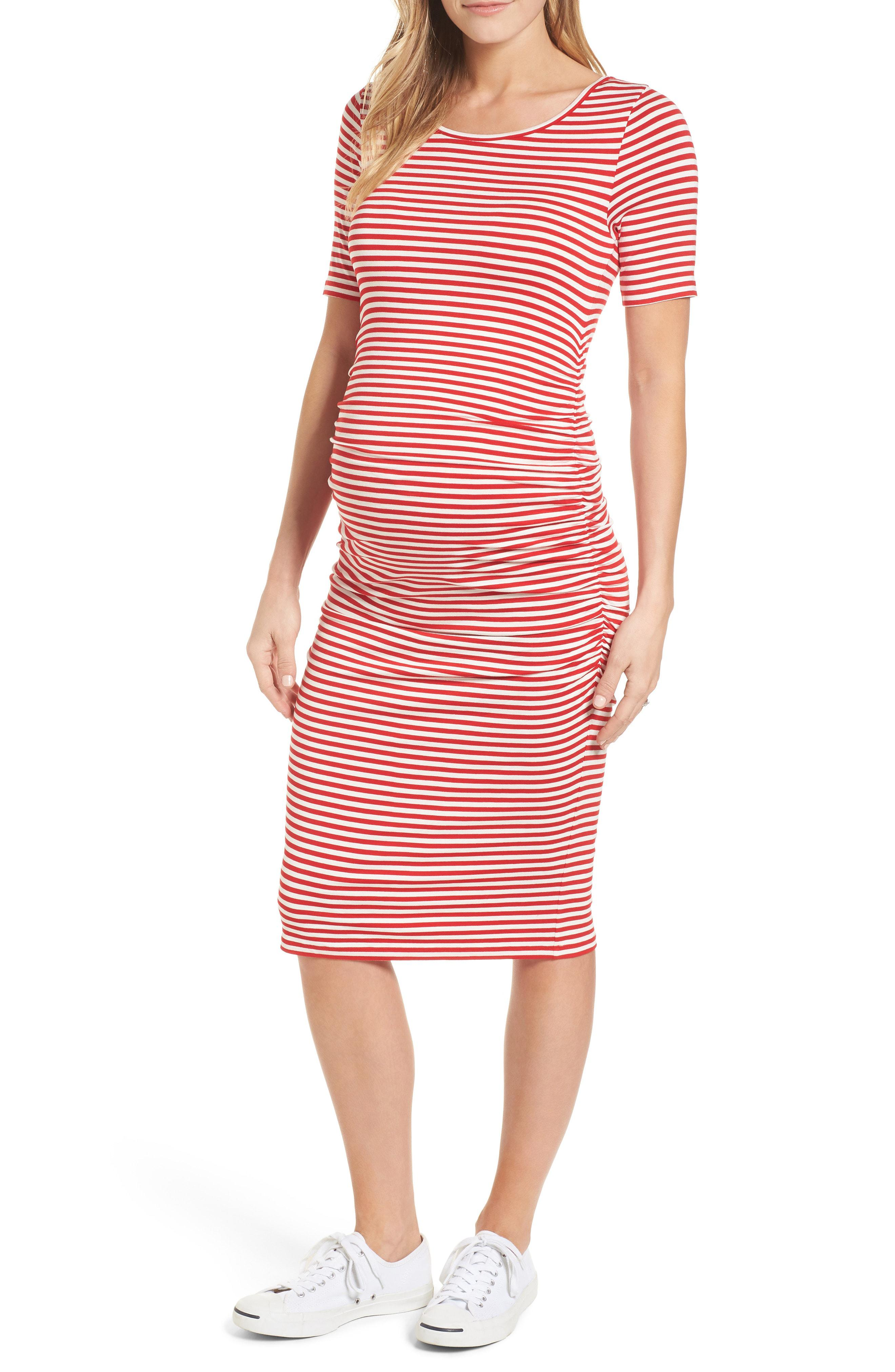 e535845a0ac Lyst - Isabella Oliver Jenna Stripe Maternity T-shirt Dress in Red