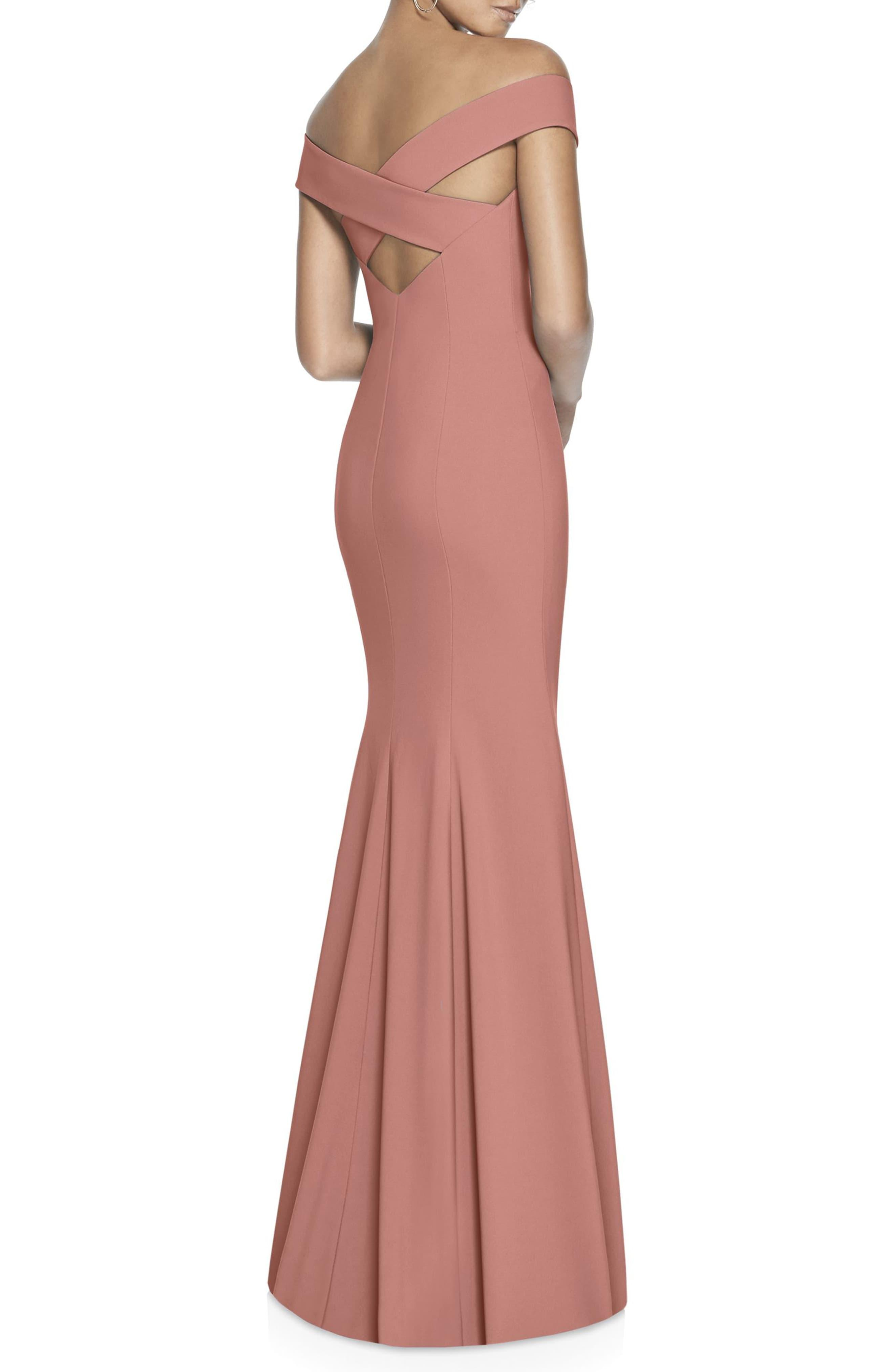 b4a38b7284042 Dessy Collection - Pink Off The Shoulder Crossback Gown - Lyst. View  fullscreen