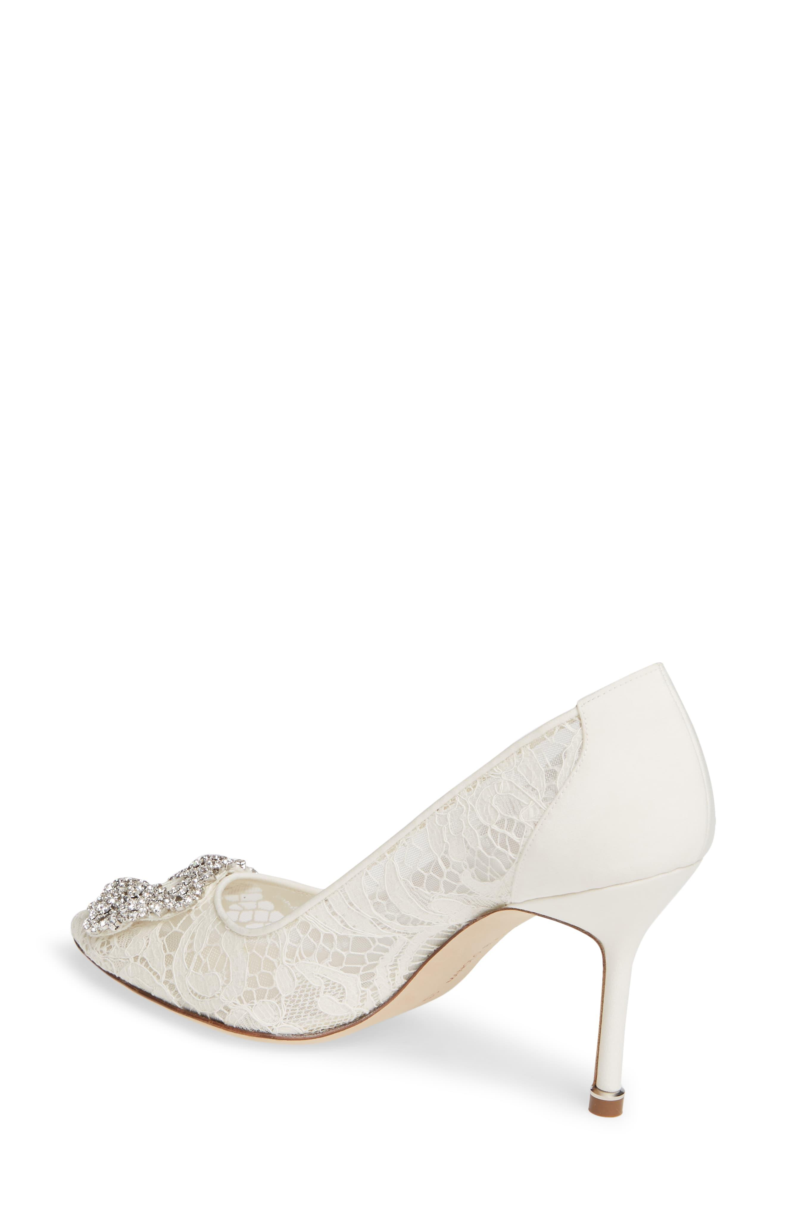 df7ac140aaa84 Manolo Blahnik White Hangisi Brooch Lace Pump. View fullscreen