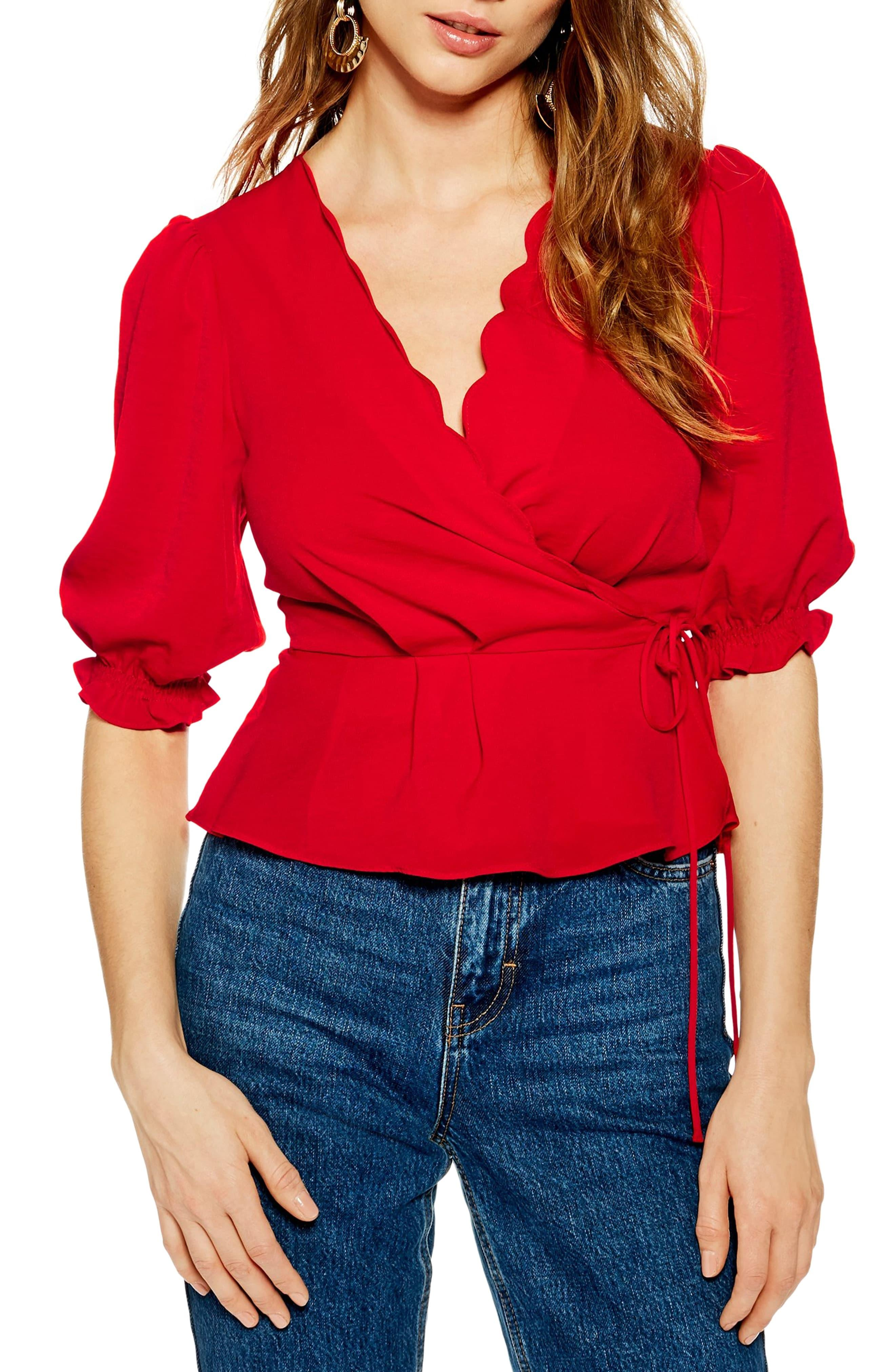 bb9a17fa752e6e TOPSHOP - Red Scarlett Scalloped Wrap Blouse - Lyst. View fullscreen