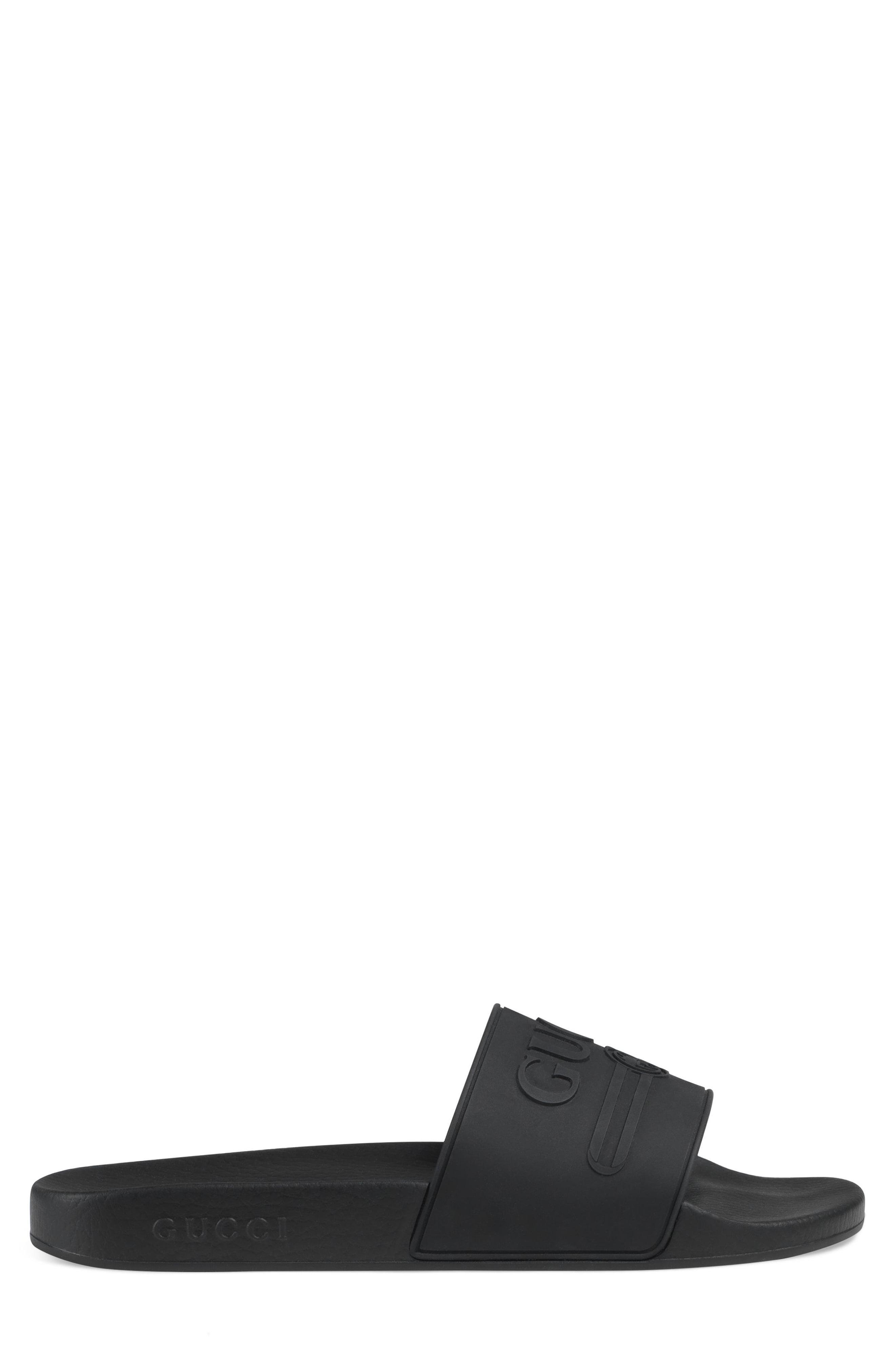 b114640bfe91 Gucci - Black Pursuit Logo Slides for Men - Lyst. View fullscreen
