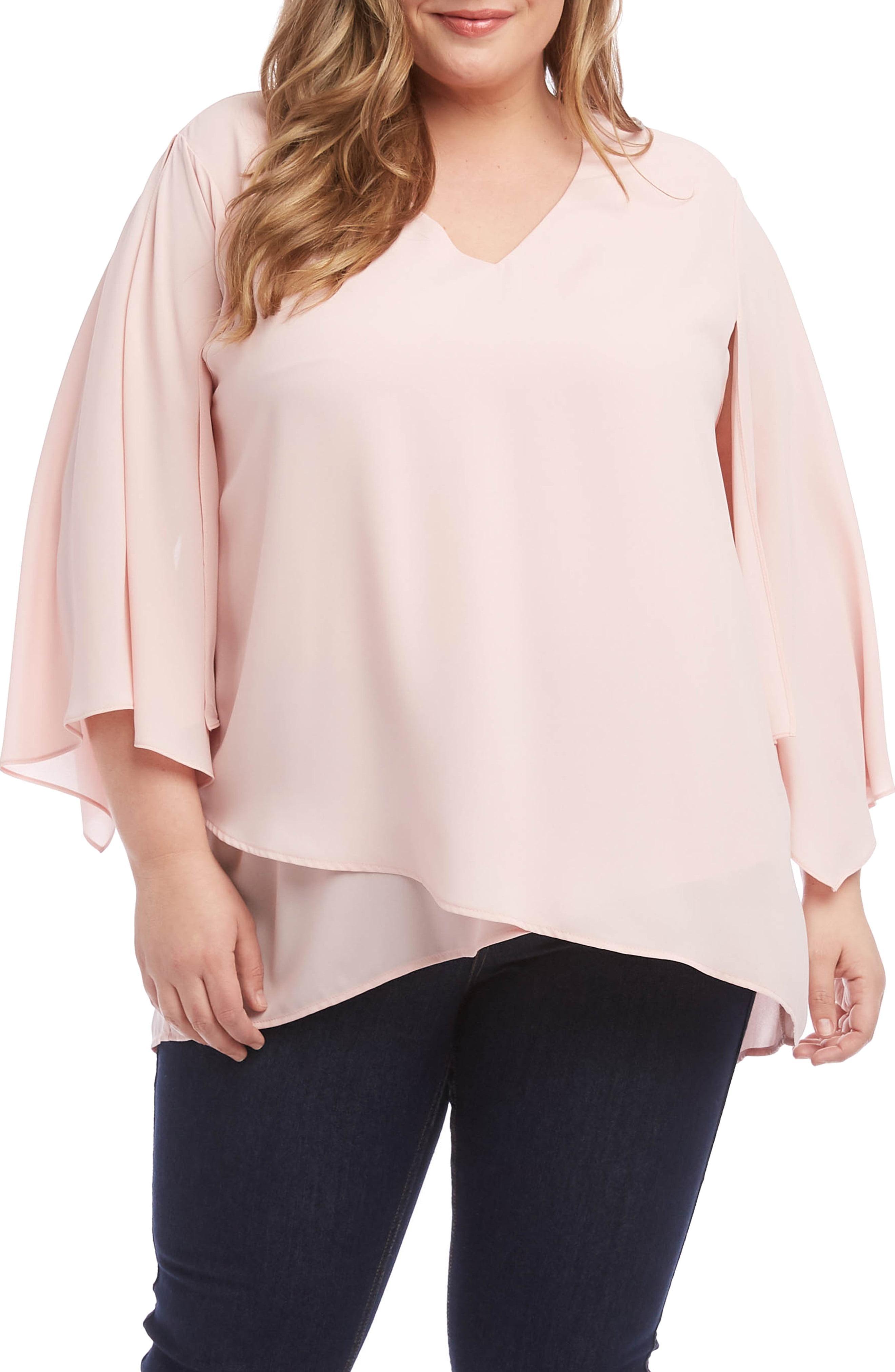 75b108aecd7084 Lyst - Karen Kane Angel Sleeve Crossover Top in Pink