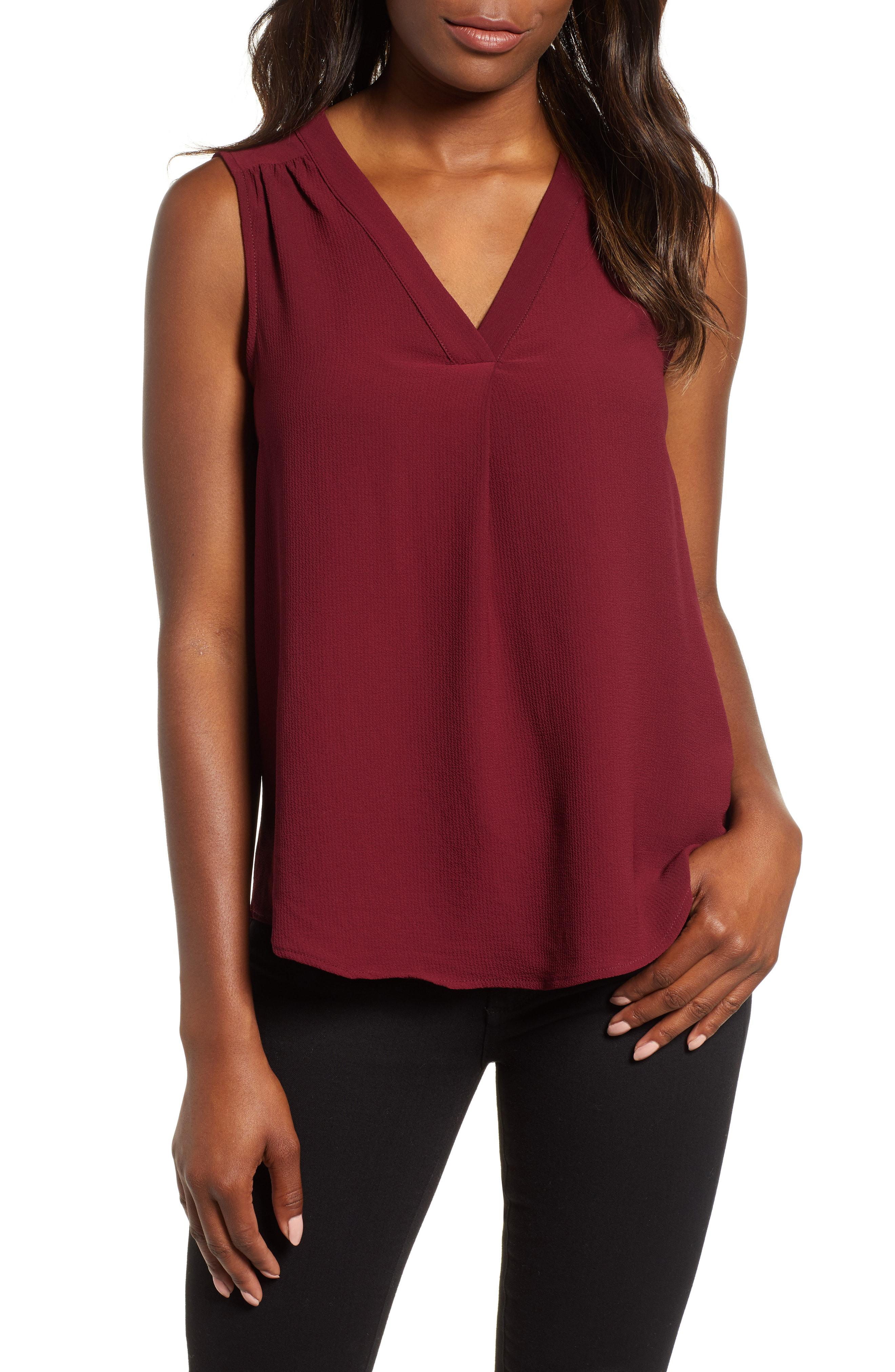 ce7bacf732d Lyst - Gibson Stretch Crepe Split Neck Sleeveless Blouse in Red