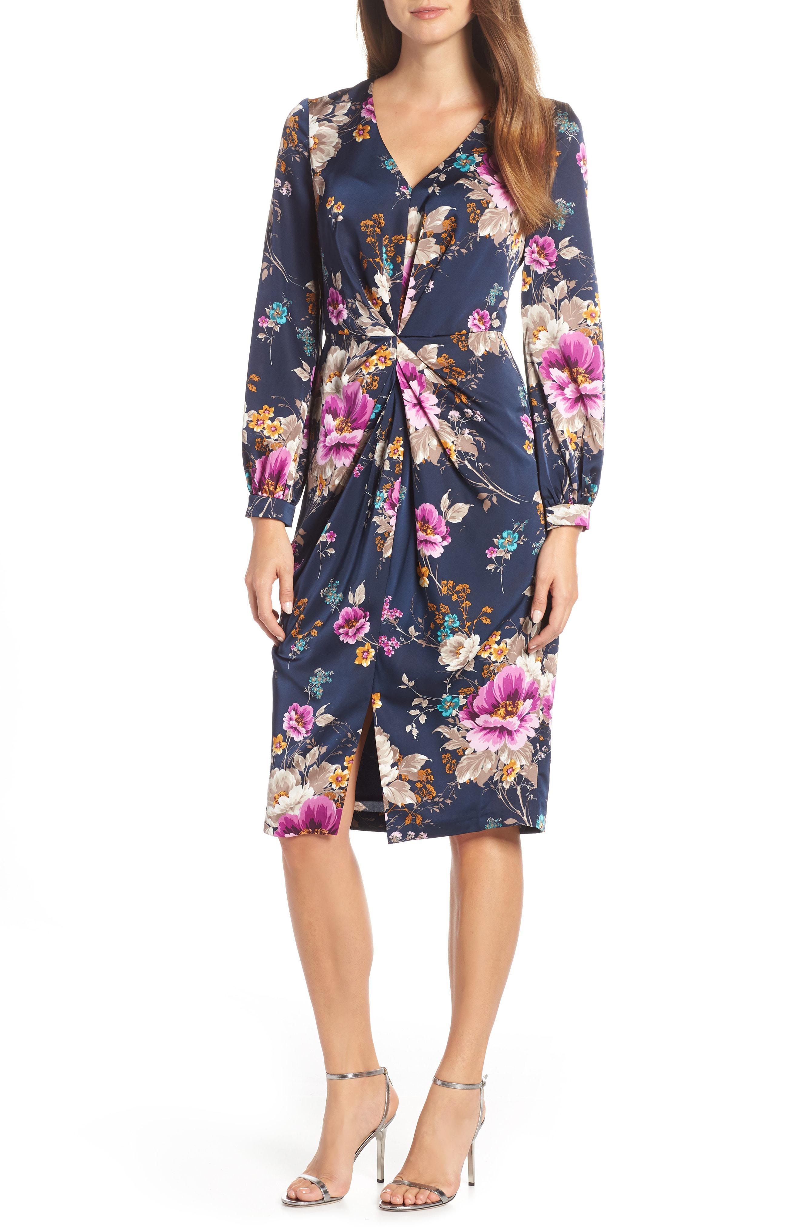 La Maison De Maggy Bondues flemish floral charmeuse draped sheath dress (navy/mulberry) dress