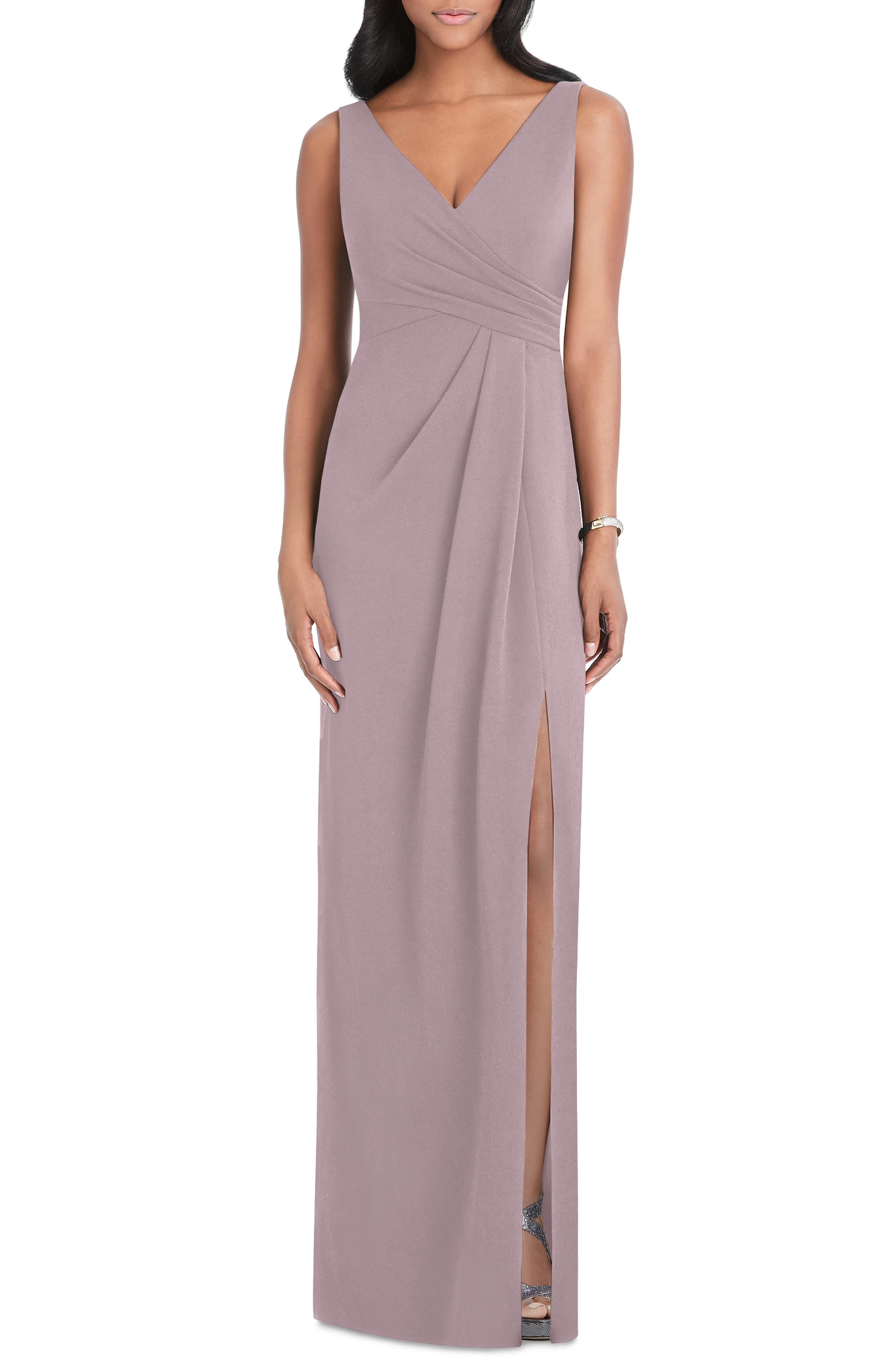 71fa341caac After Six. Women s Pleated Surplice Stretch Crepe Gown