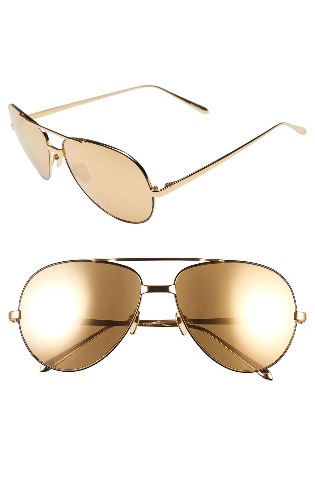 8900fbcc139 Linda Farrow. Women s Metallic 59mm 24 Karat Gold Trim Aviator Sunglasses -