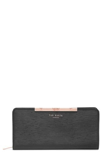 1eb29185a92 Ted Baker Yasmine Plisse Leather Matinee Wallet in Black - Lyst