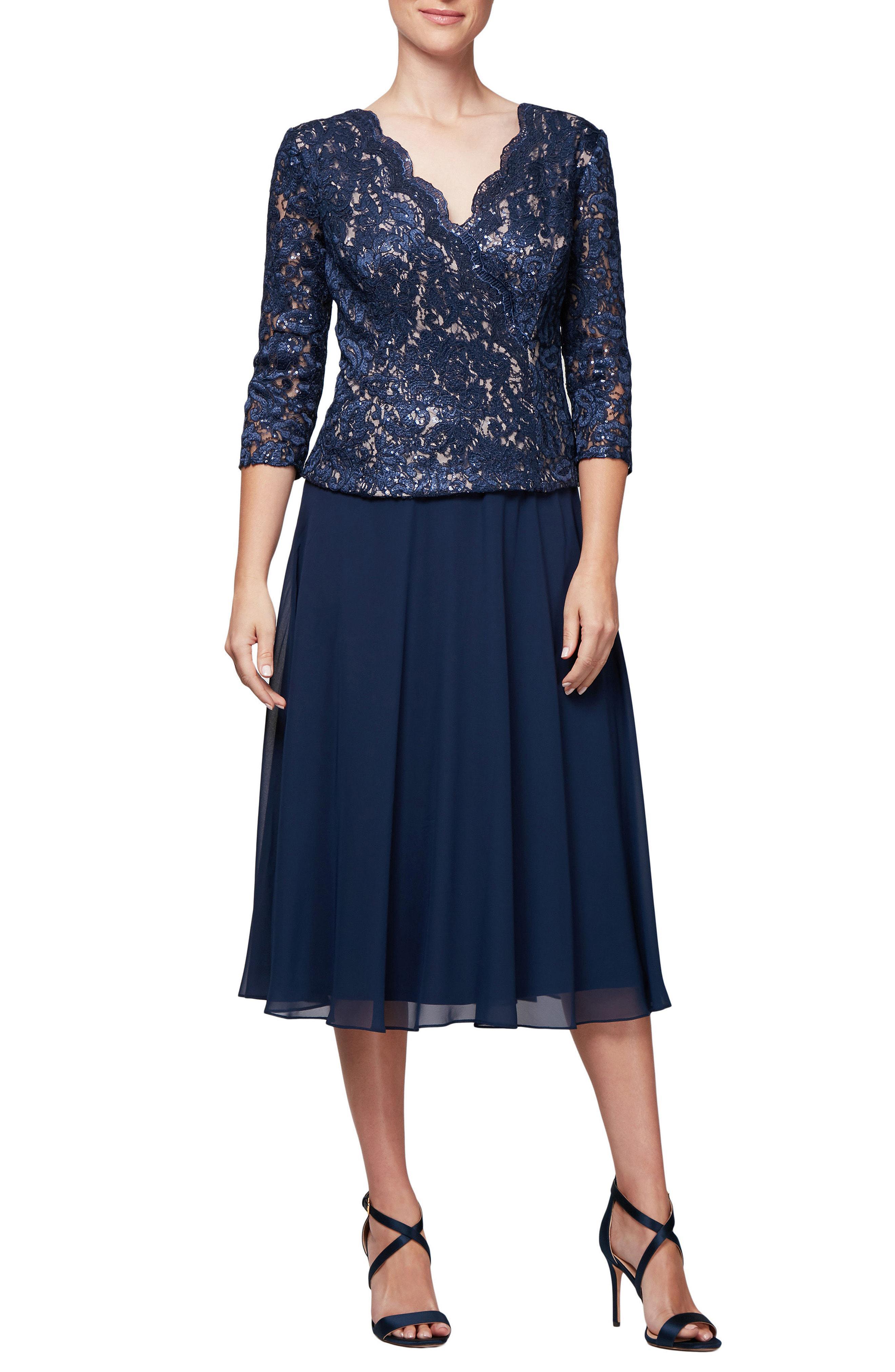 86a15d68476c9 Lyst - Alex Evenings Lace   Chiffon Tea Length Dress in Blue