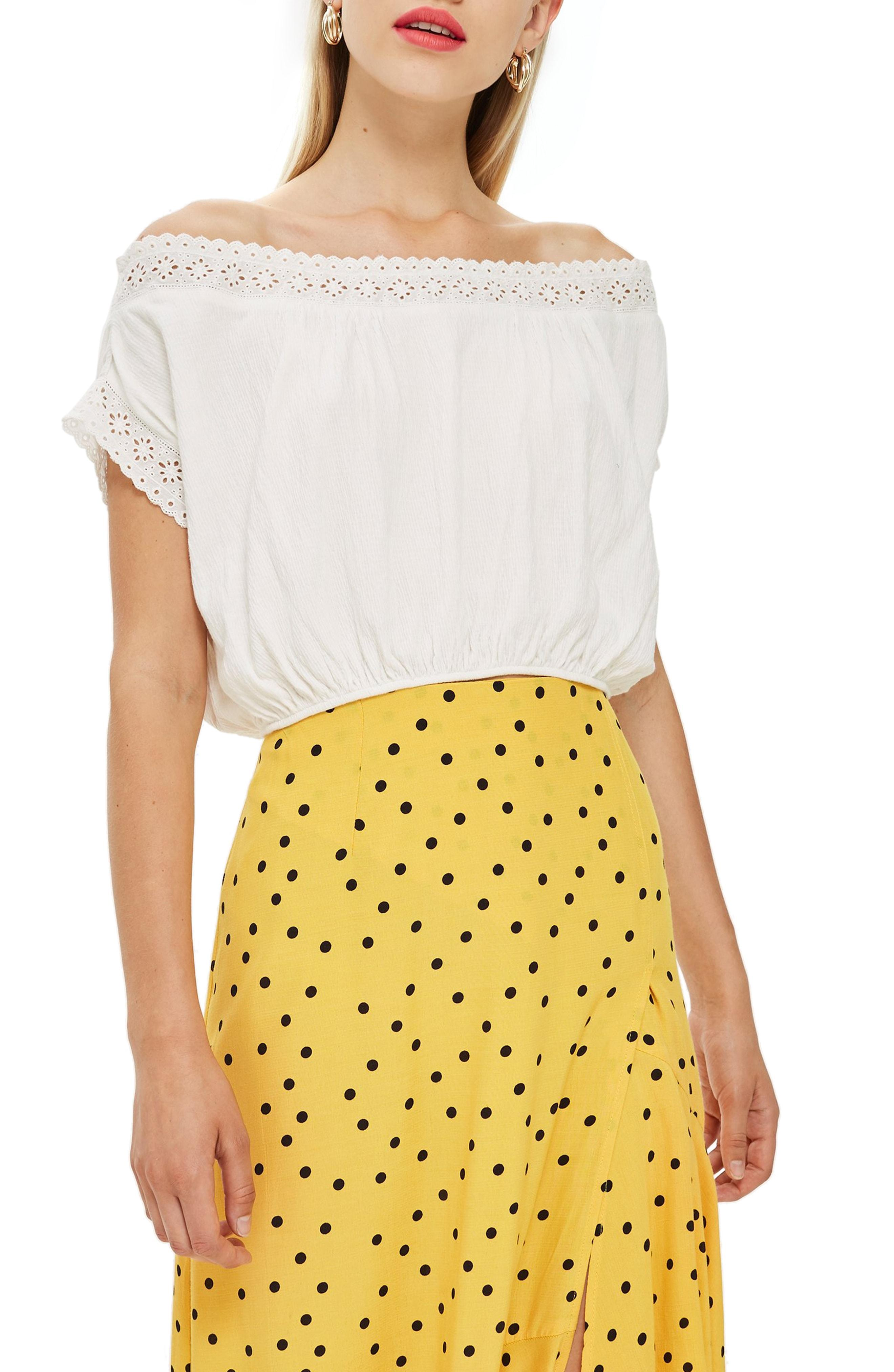 82e0629a10fe9 Lyst - TOPSHOP Off The Shoulder Eyelet Detail Top
