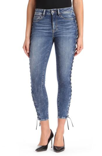 lyst mavi jeans tess corset ankle skinny jeans in blue save 14. Black Bedroom Furniture Sets. Home Design Ideas