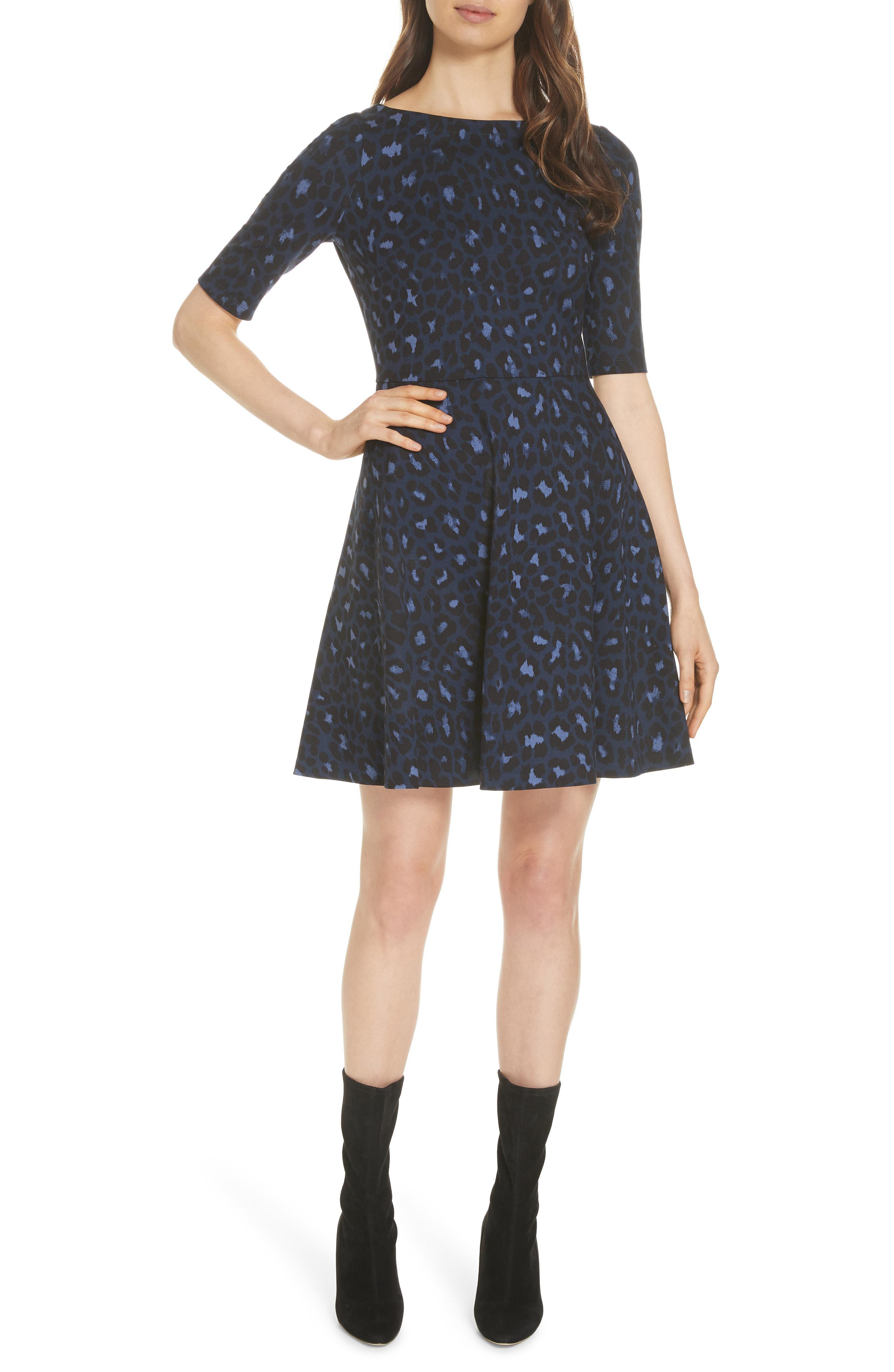 1c7f7ef138 Lyst - Kate Spade Leopard Print Lace-up Ponte Dress in Blue