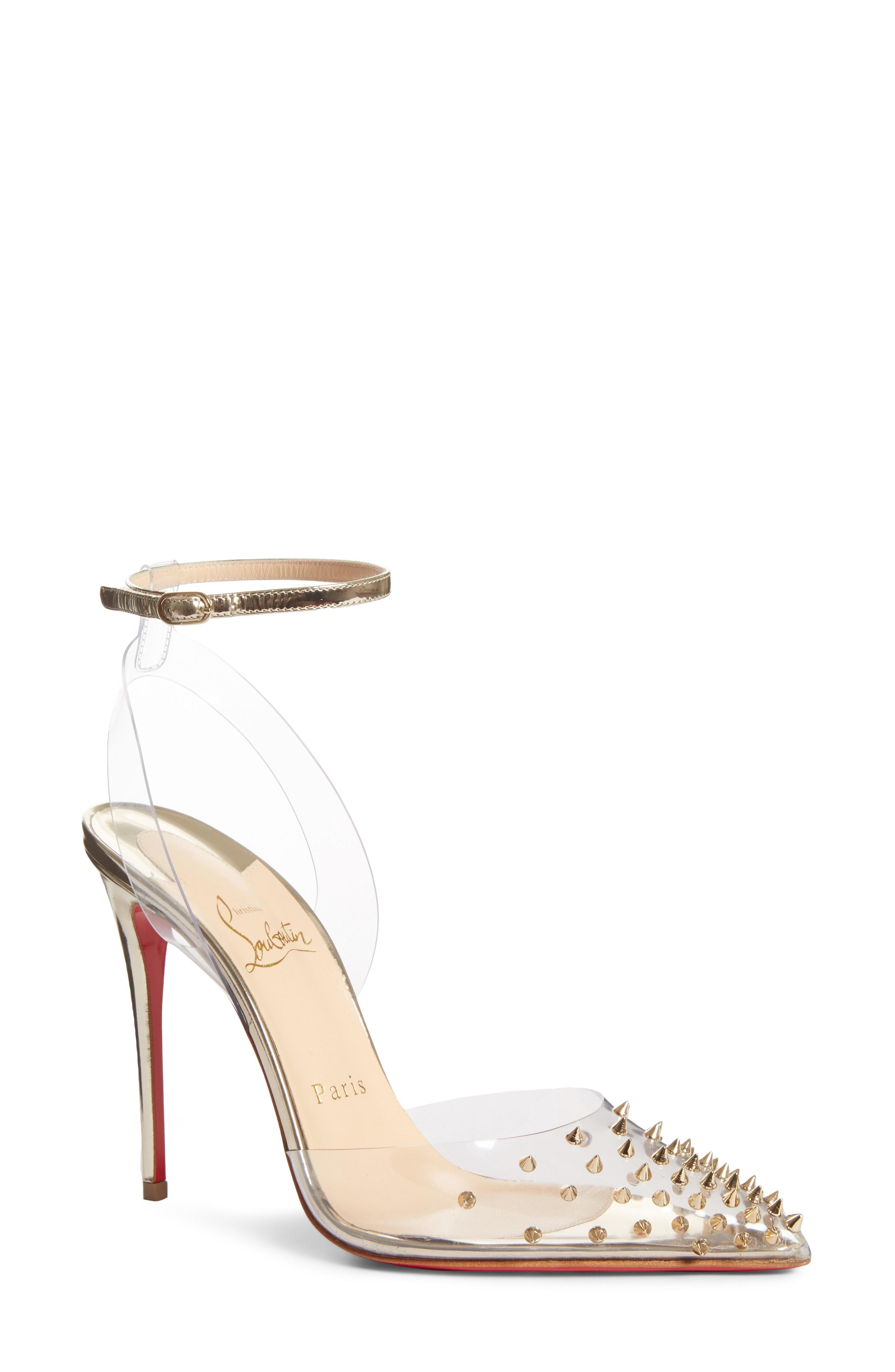 b4c1f63bac1 Lyst - Christian Louboutin Spikoo Clear Ankle Strap Pump in Metallic