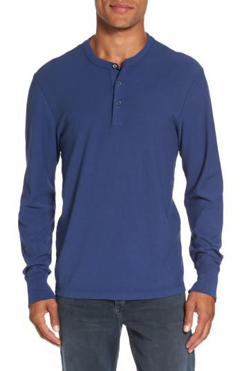 James perse classic high twist jersey henley in blue for for James perse henley shirt